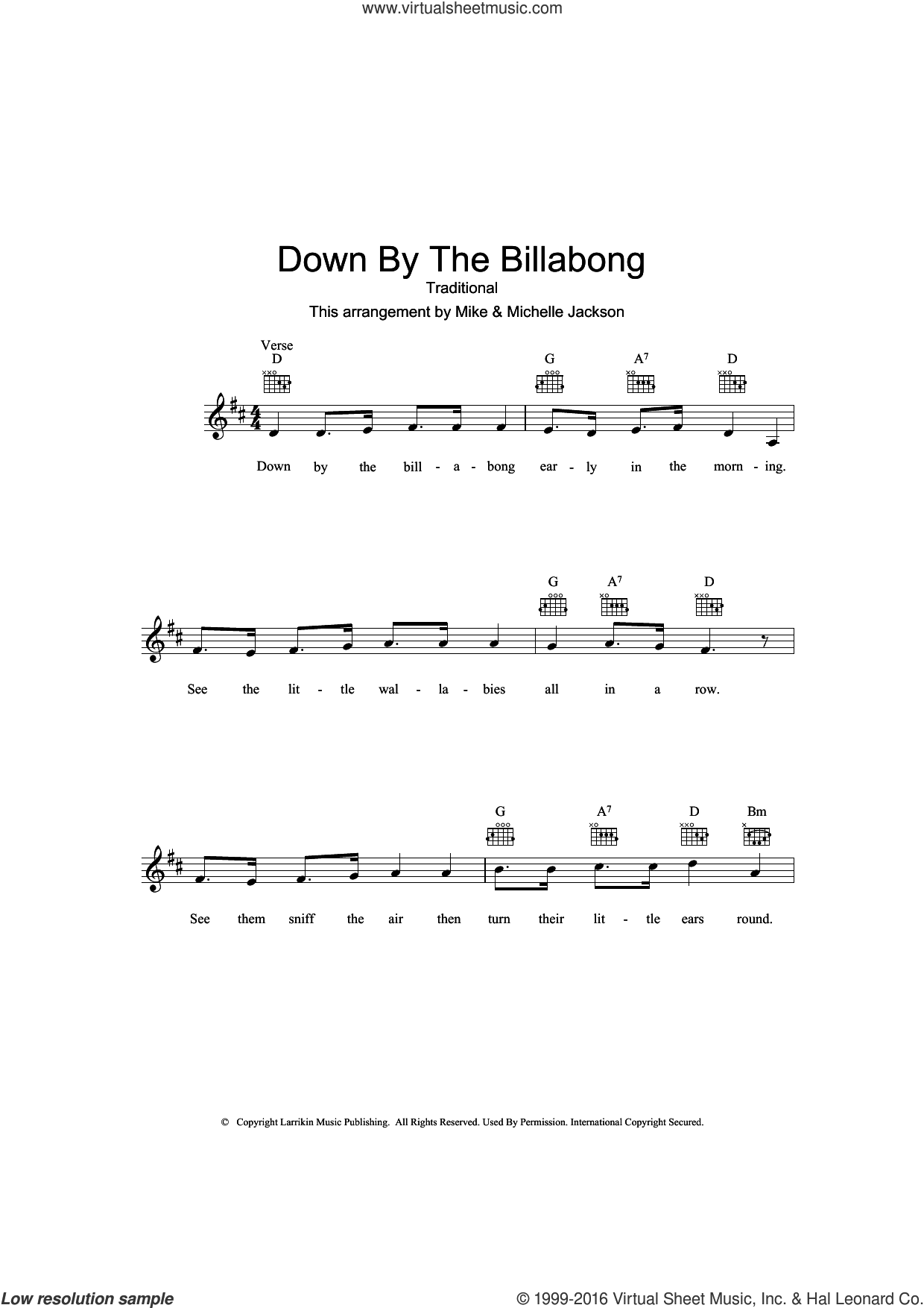 Down By The Billabong sheet music for voice and other instruments (fake book), intermediate. Score Image Preview.