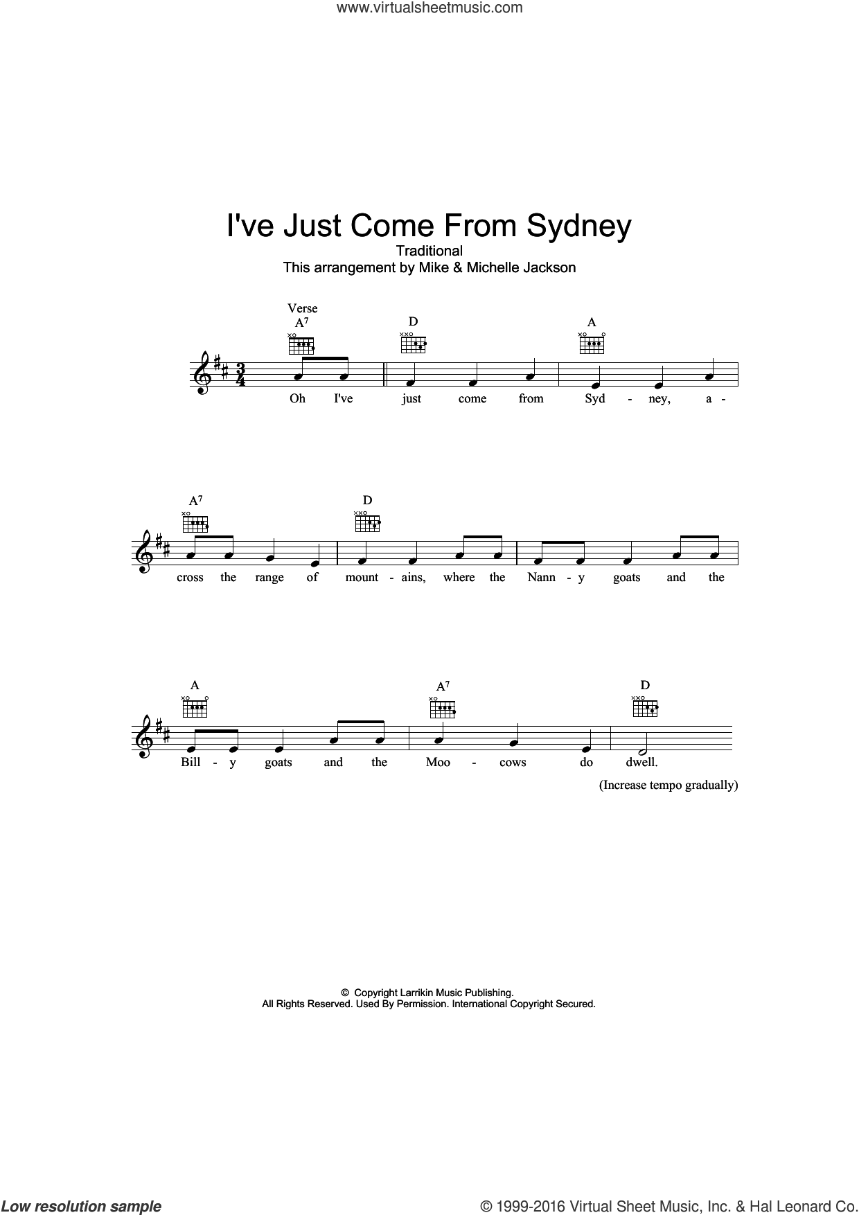 I've Just Come From Sydney sheet music for voice and other instruments (fake book), intermediate skill level
