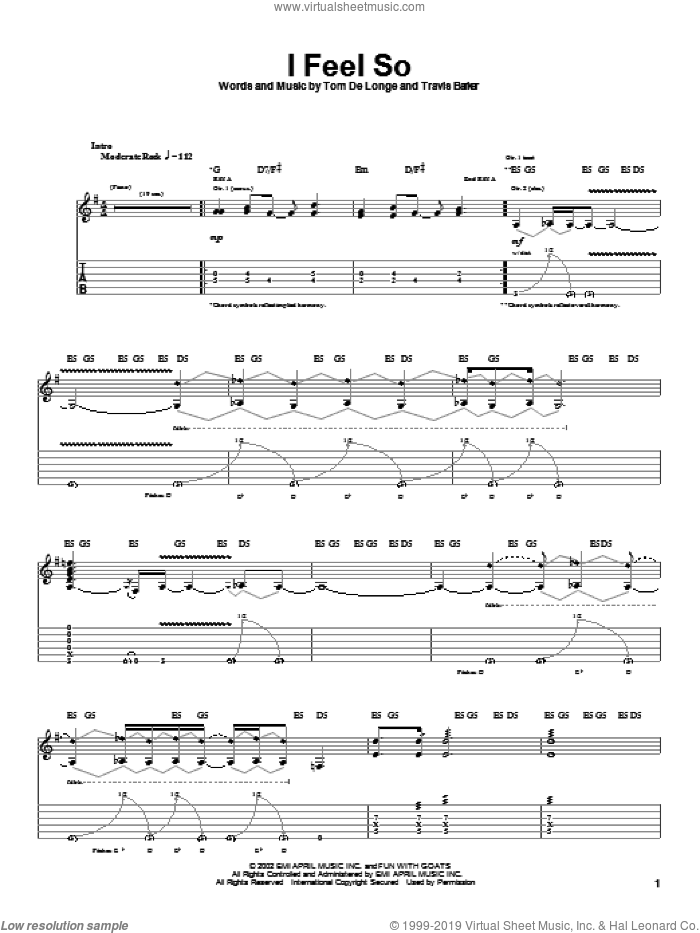 I Feel So sheet music for guitar (tablature) by Travis Barker and Tom DeLonge. Score Image Preview.