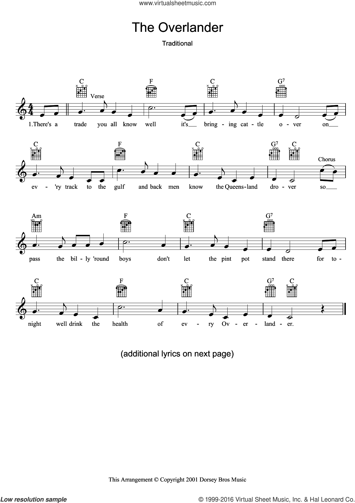 The Overlander sheet music for voice and other instruments (fake book). Score Image Preview.