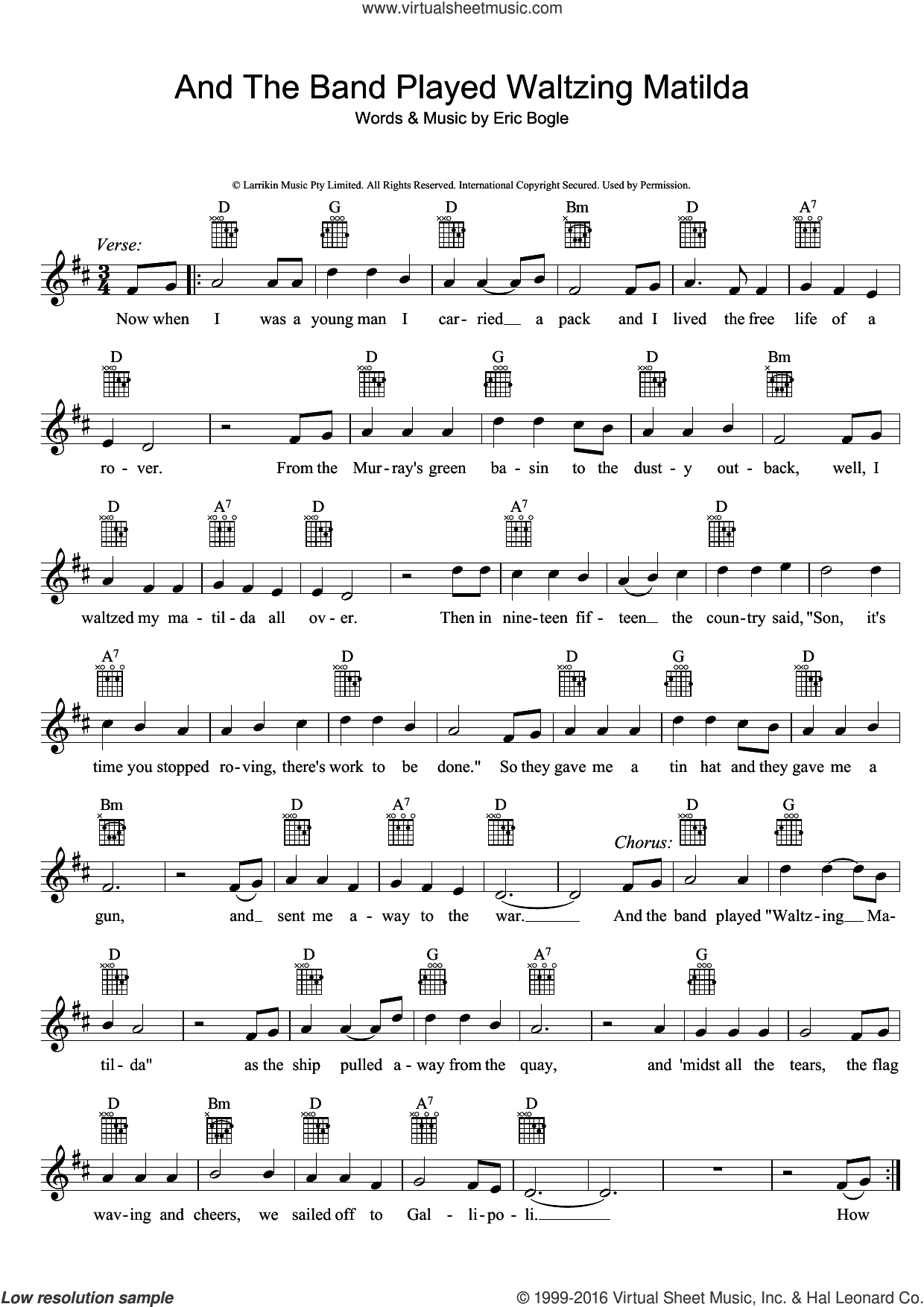 And The Band Played Waltzing Matilda sheet music for voice and other instruments (fake book) by Eric Bogle