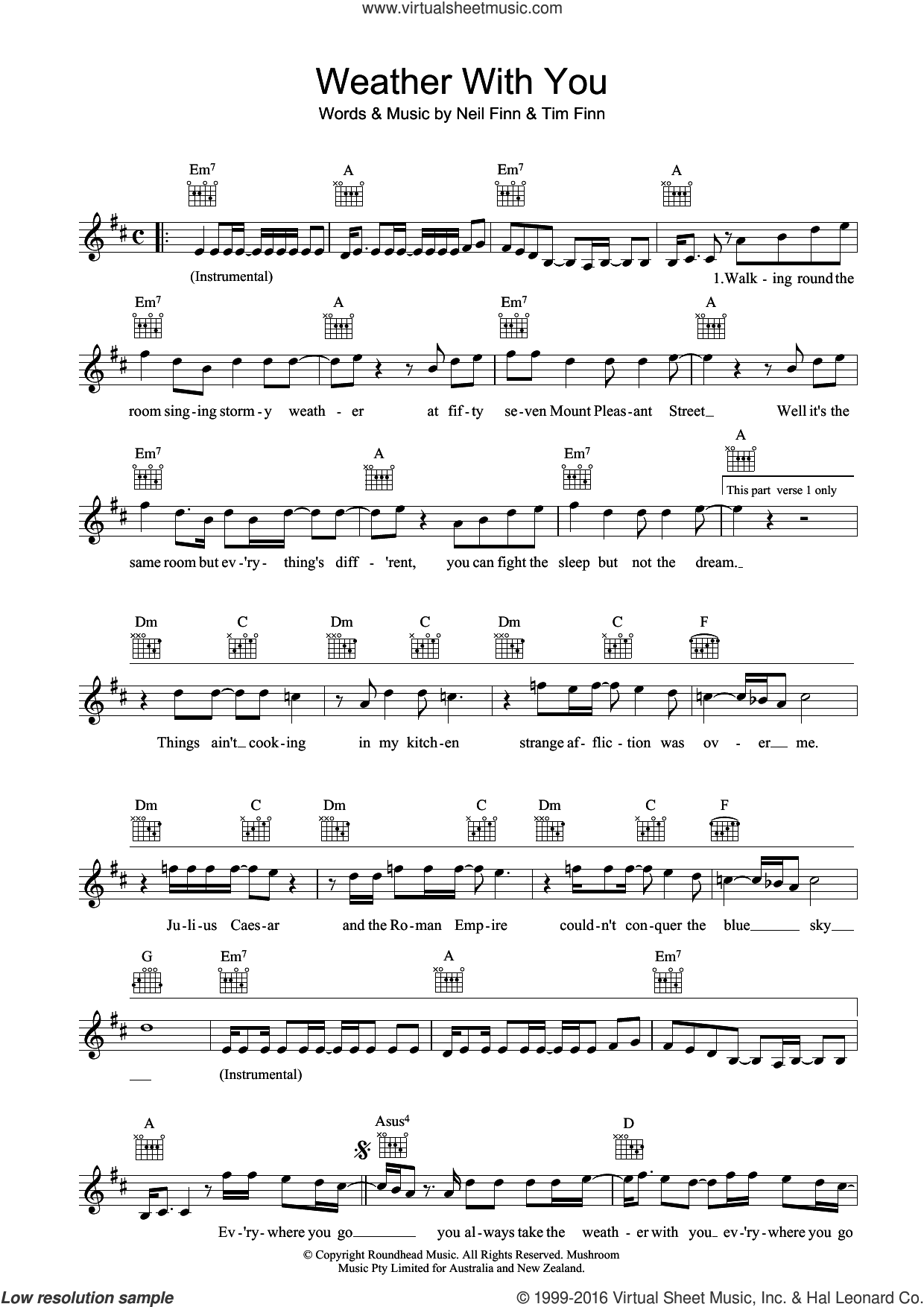 Weather With You sheet music for voice and other instruments (fake book) by Crowded House, Neil Finn and Tim Finn, intermediate skill level