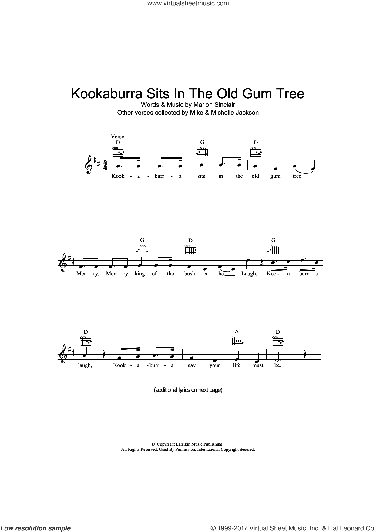 Kookaburra Sits In The Old Gum Tree sheet music for voice and other instruments (fake book) by Marion Sinclair, intermediate skill level