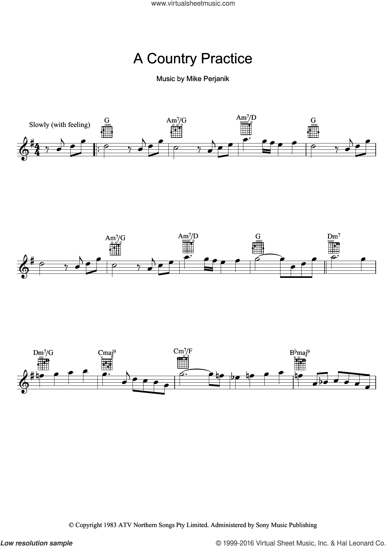 A Country Practice sheet music for voice and other instruments (fake book) by Mike Perjanik. Score Image Preview.