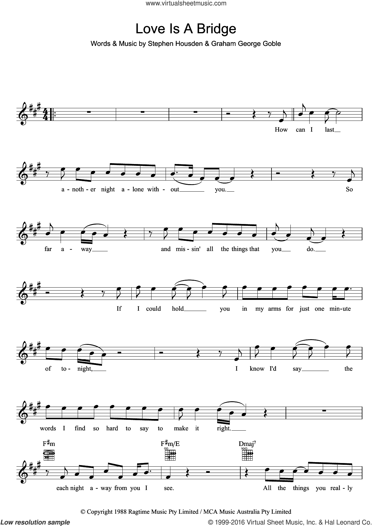 Love Is A Bridge sheet music for voice and other instruments (fake book) by The Little River Band, intermediate. Score Image Preview.