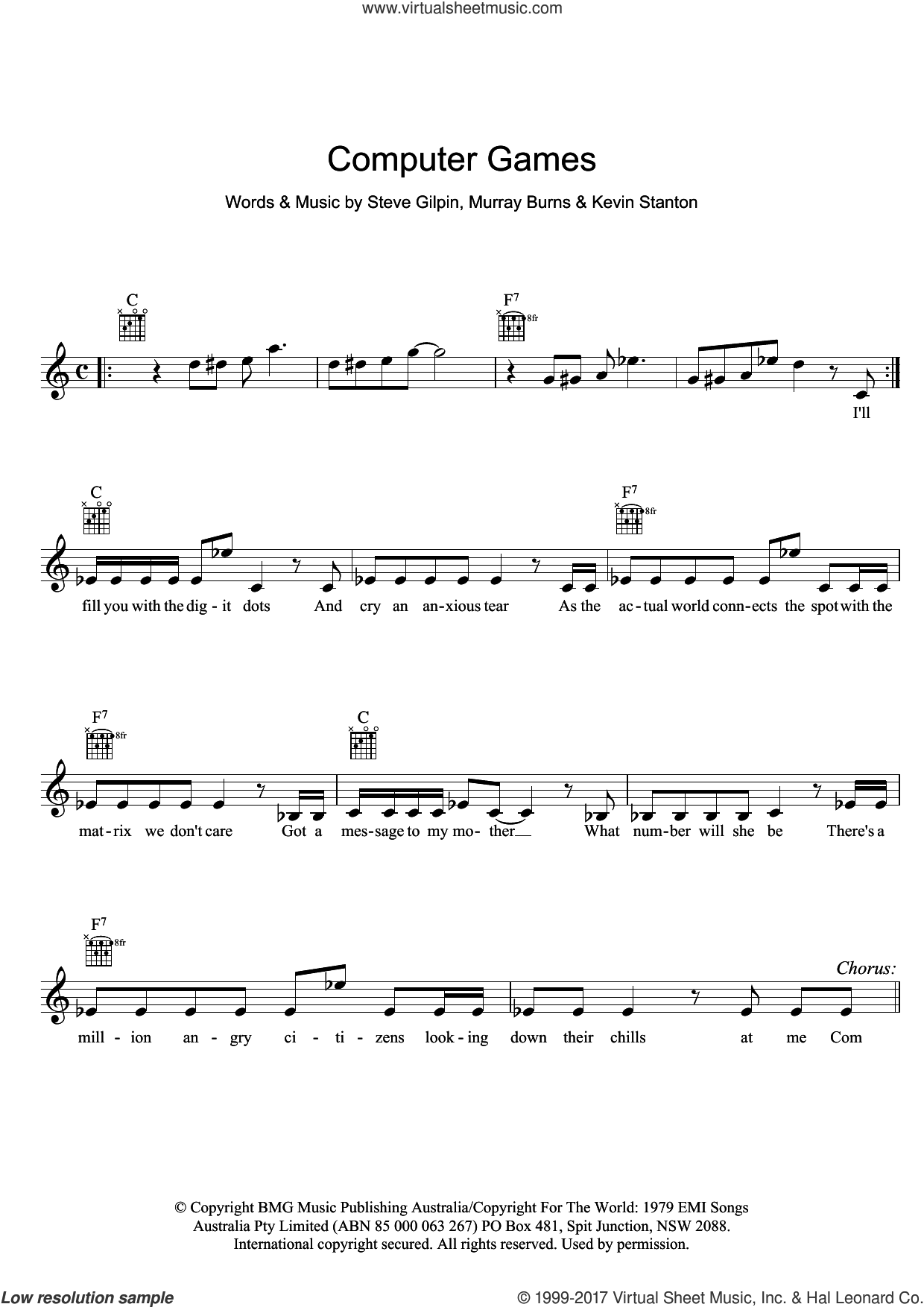Computer Games sheet music for voice and other instruments (fake book) by Mi-Sex, intermediate. Score Image Preview.