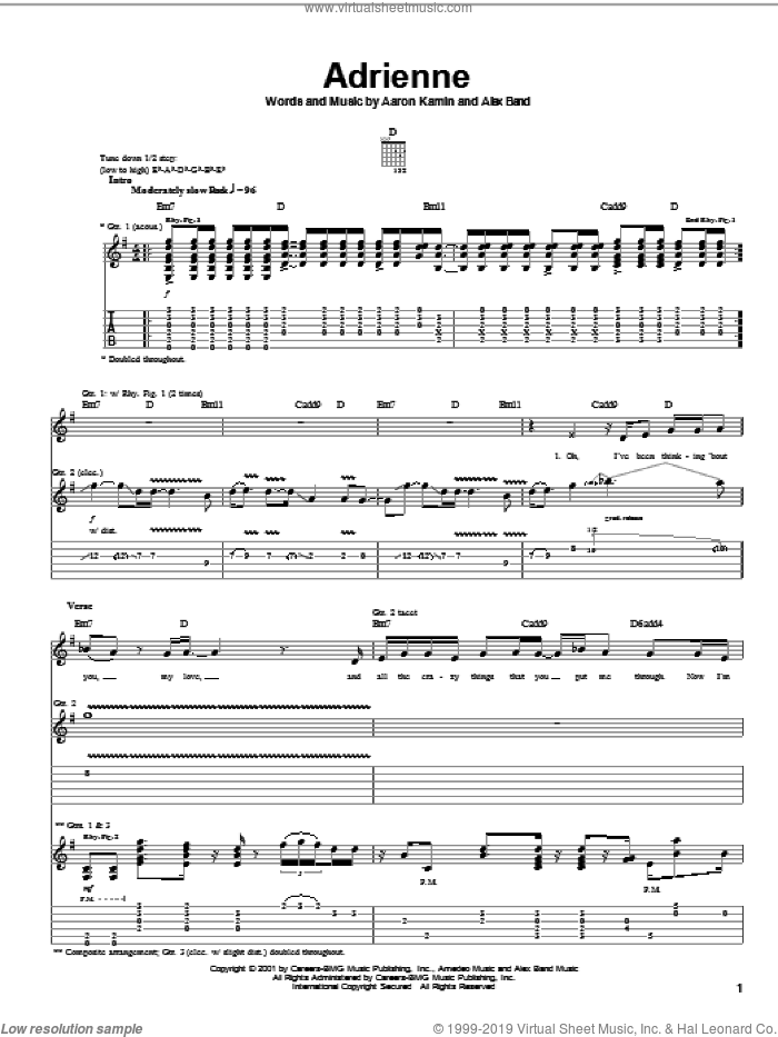 Adrienne sheet music for guitar (tablature) by The Calling, Aaron Kamin and Alex Band, intermediate skill level