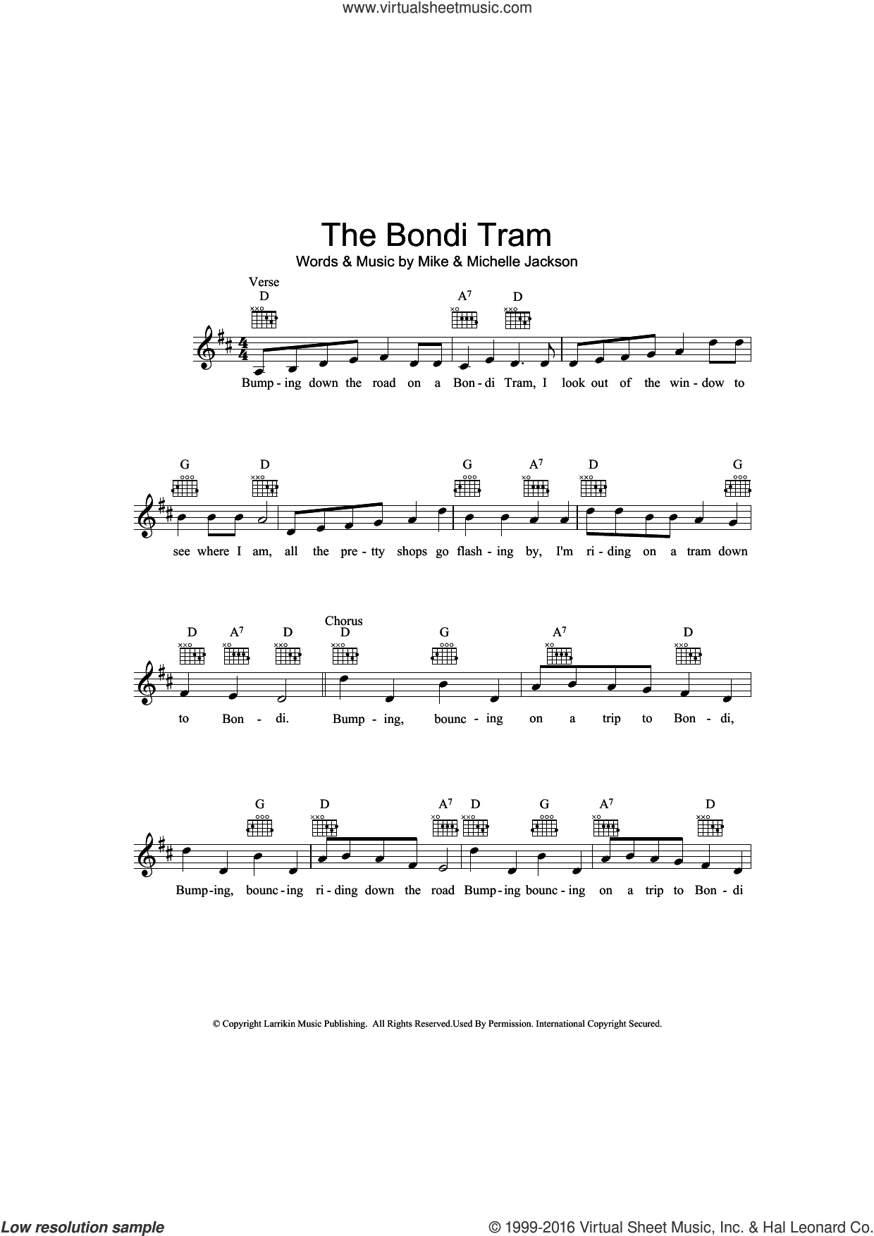 The Bondi Tram sheet music for voice and other instruments (fake book) by Mike Jackson and Michelle Jackson, intermediate skill level