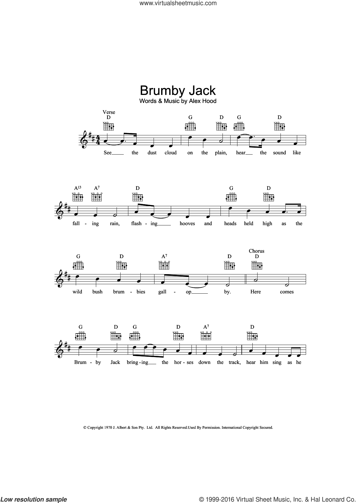 Brumby Jack sheet music for voice and other instruments (fake book) by Alex Hood. Score Image Preview.