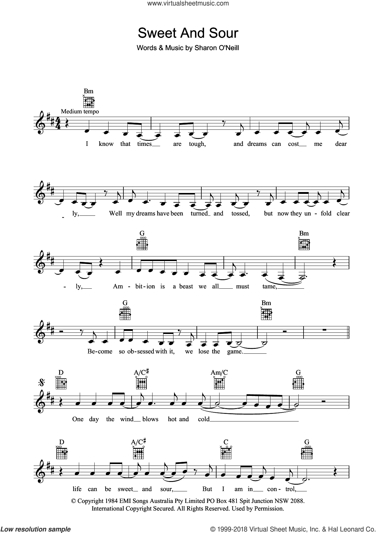 Sweet And Sour sheet music for voice and other instruments (fake book) by Deborah Conway, intermediate skill level