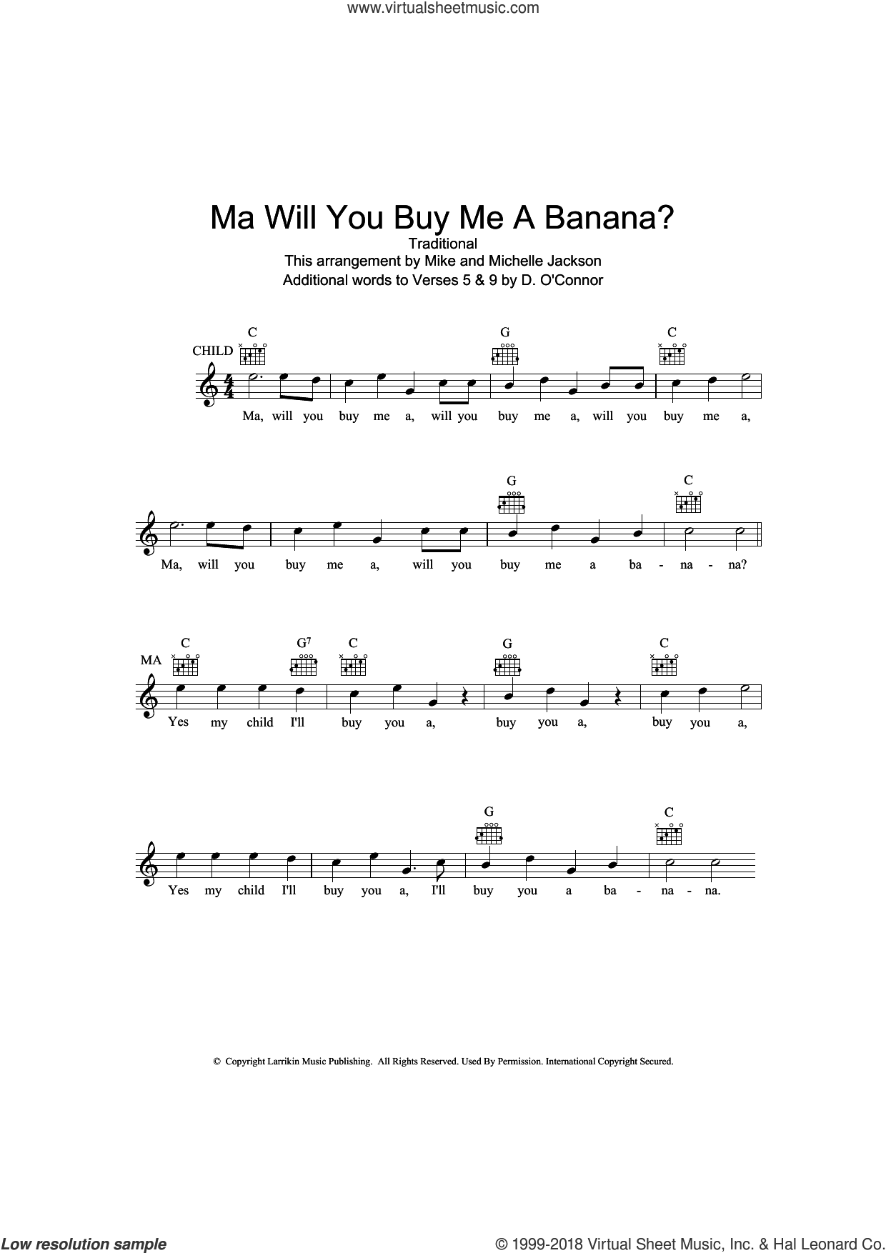 Ma Will You Buy Me A Banana? sheet music for voice and other instruments (fake book), intermediate skill level