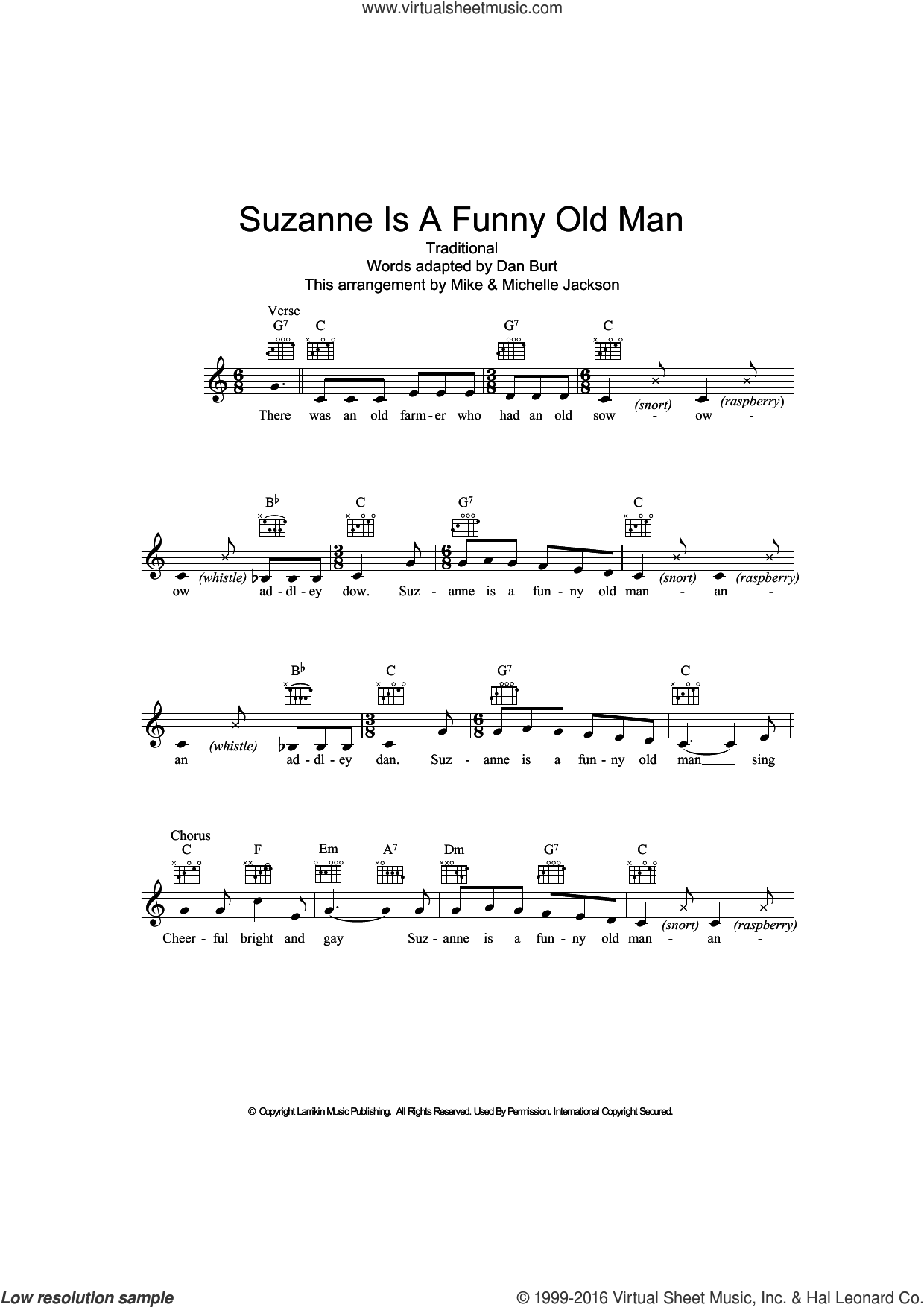 Suzanne Is A Funny Old Man sheet music for voice and other instruments (fake book)  and Dan Burt, intermediate. Score Image Preview.