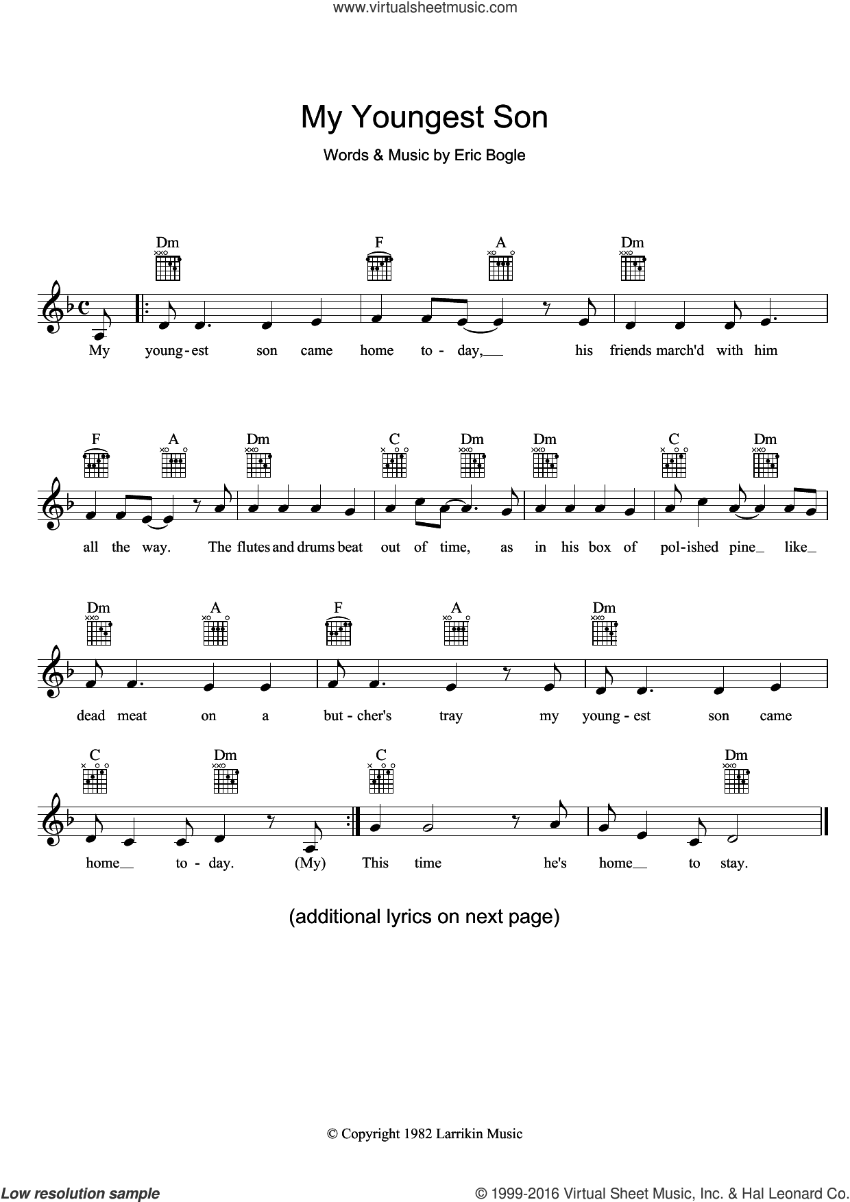 My Youngest Son sheet music for voice and other instruments (fake book) by Eric Bogle, intermediate. Score Image Preview.