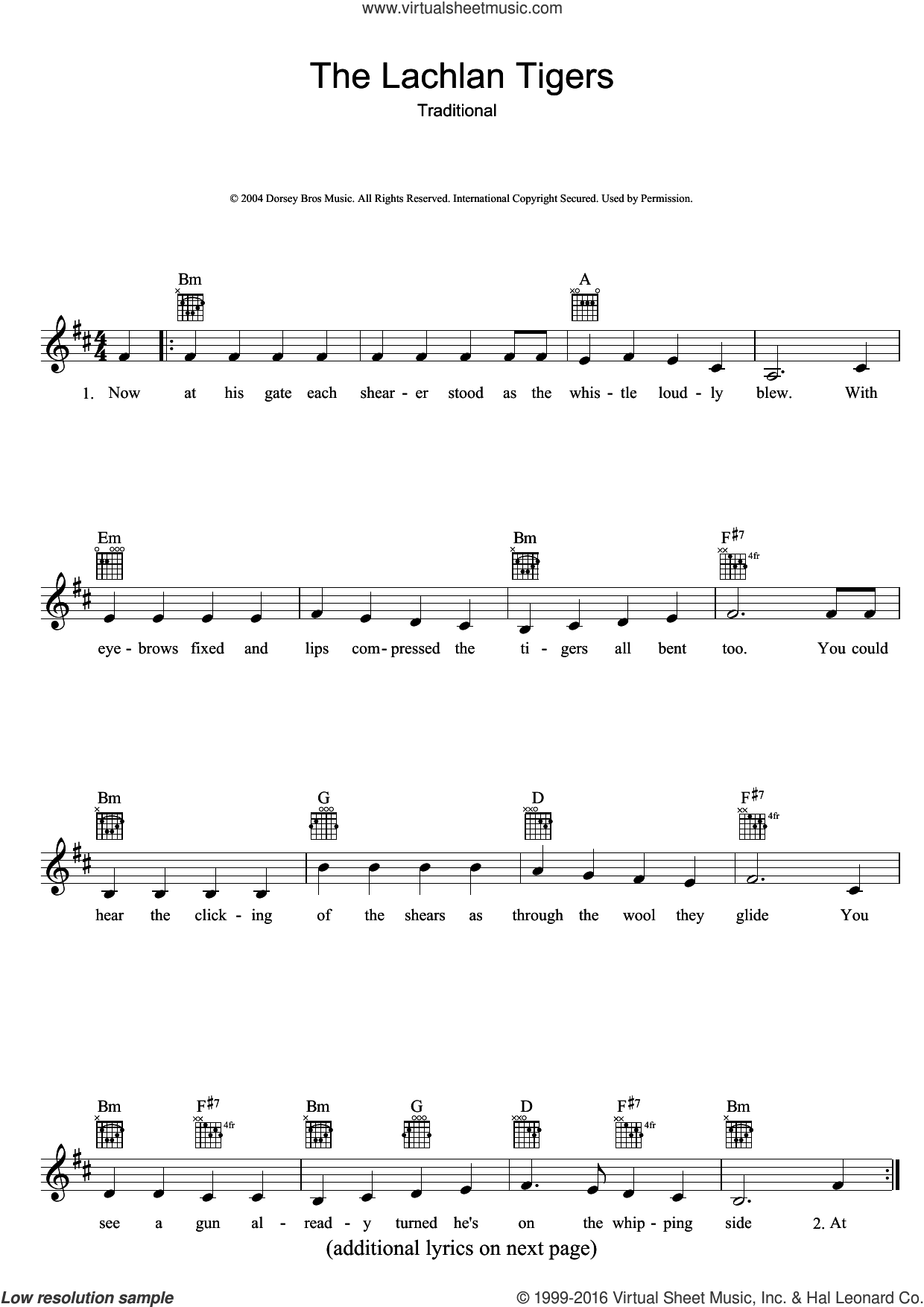The Lachlan Tigers sheet music for voice and other instruments (fake book), intermediate skill level