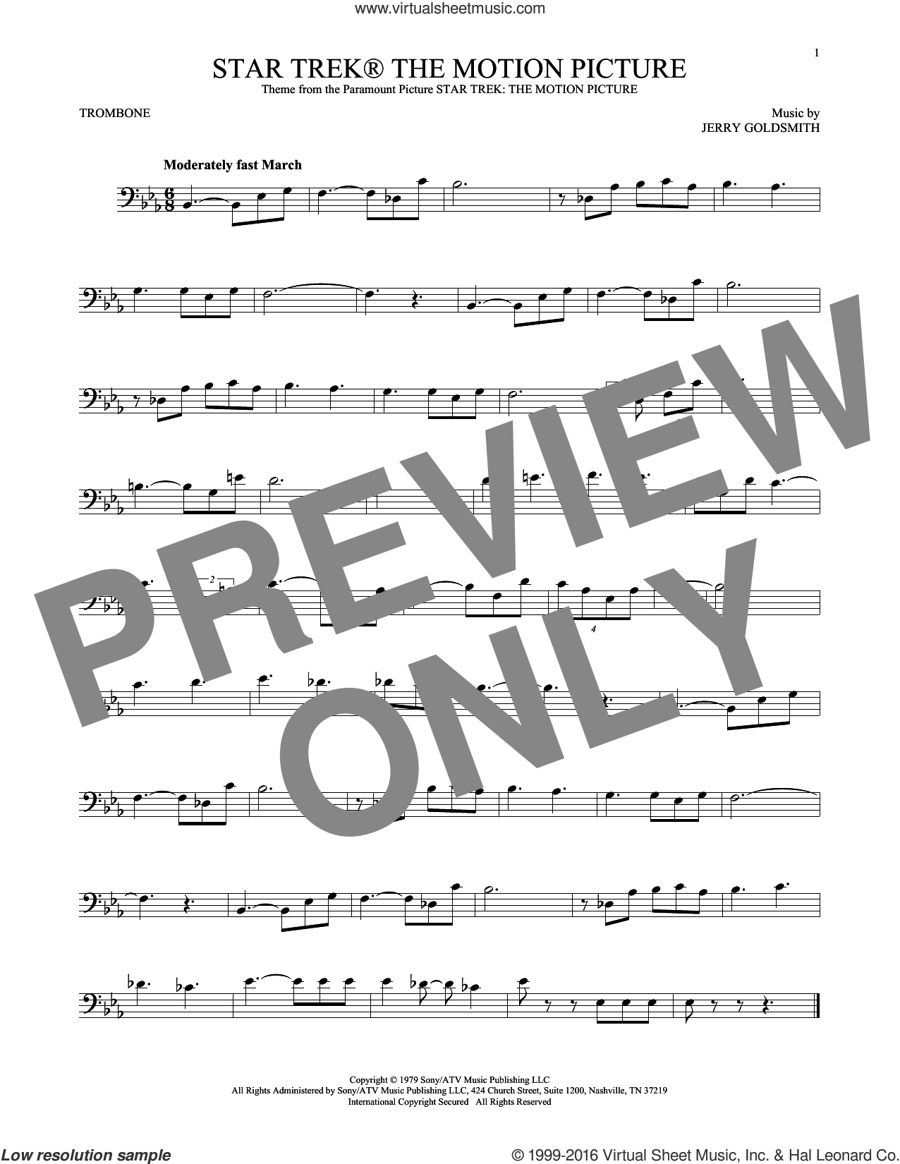 Star Trek The Motion Picture sheet music for trombone solo by Jerry Goldsmith, classical score, intermediate skill level