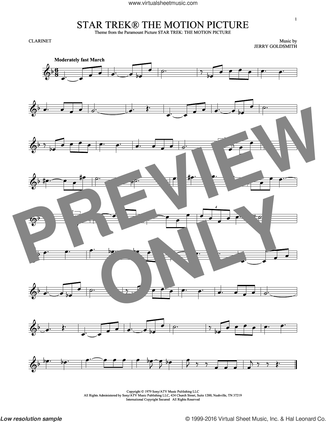 Star Trek The Motion Picture sheet music for clarinet solo by Jerry Goldsmith. Score Image Preview.