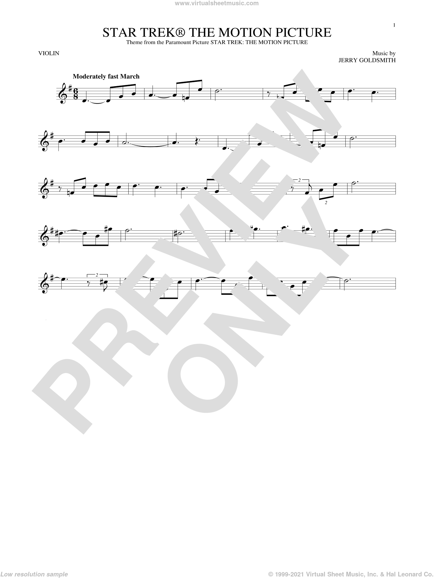Star Trek The Motion Picture sheet music for violin solo by Jerry Goldsmith, intermediate skill level