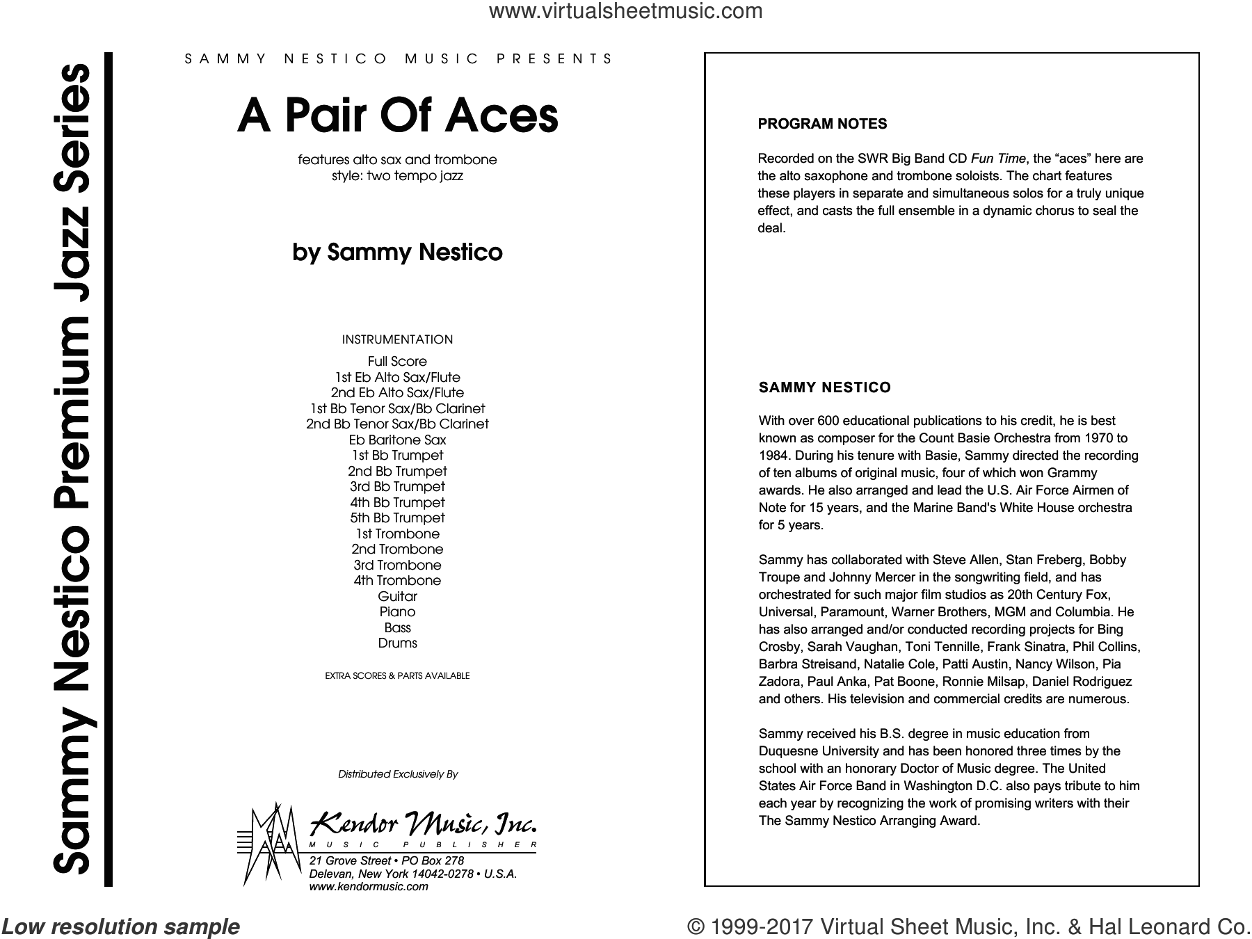 A Pair Of Aces (COMPLETE) sheet music for jazz band by Sammy Nestico, intermediate skill level