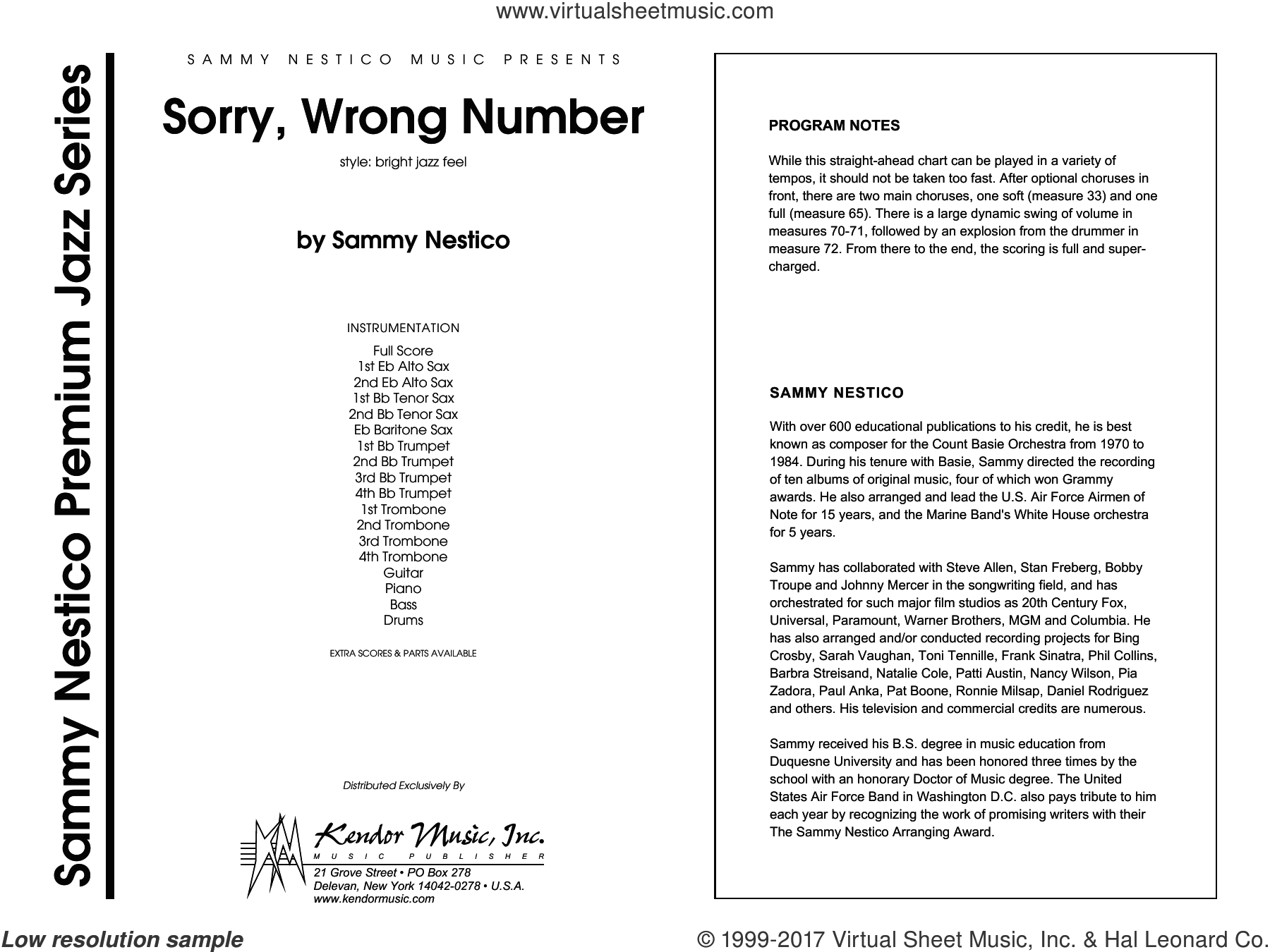 Sorry, Wrong Number (COMPLETE) sheet music for jazz band by Sammy Nestico, intermediate jazz band. Score Image Preview.