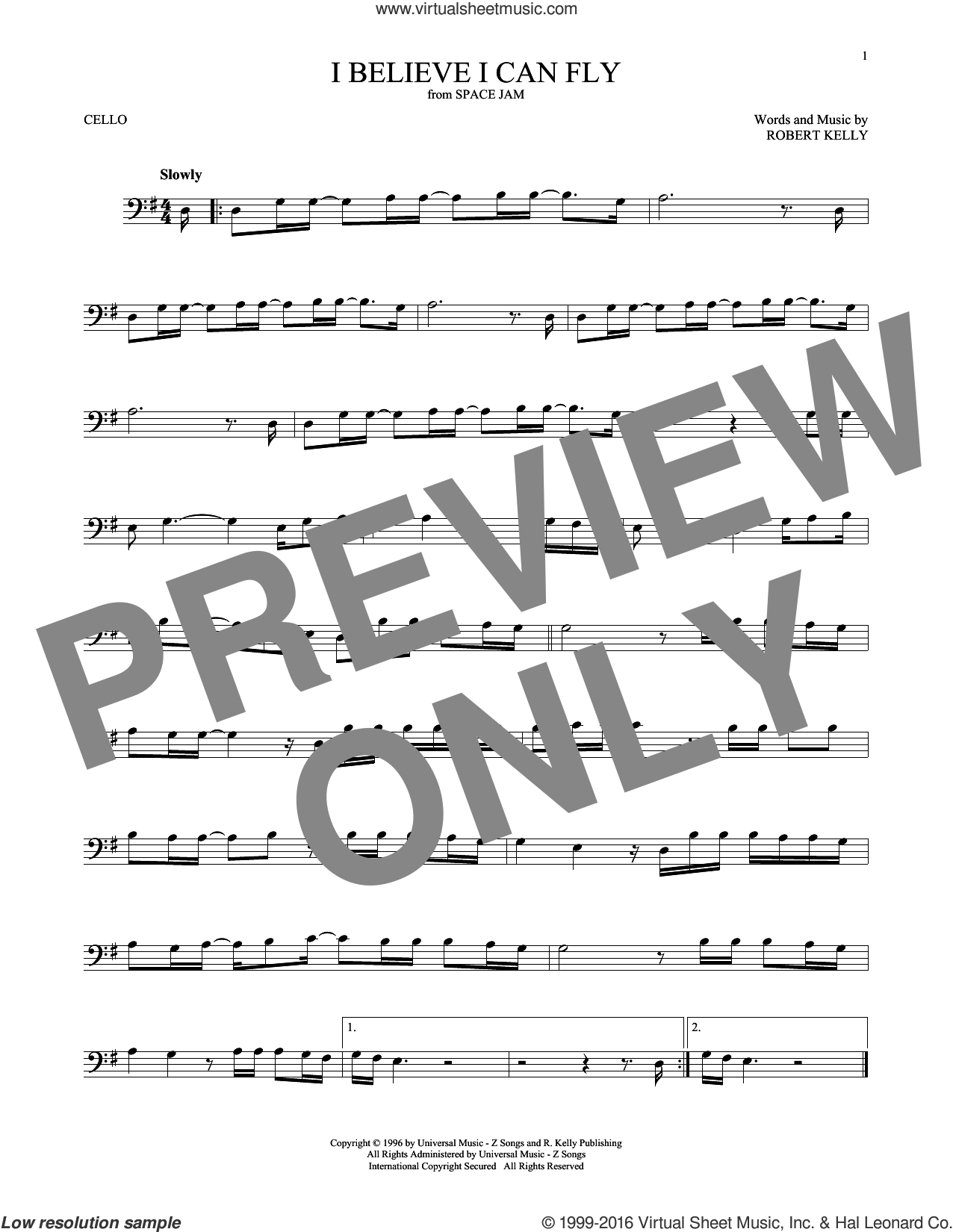 I Believe I Can Fly sheet music for cello solo by Robert Kelly. Score Image Preview.