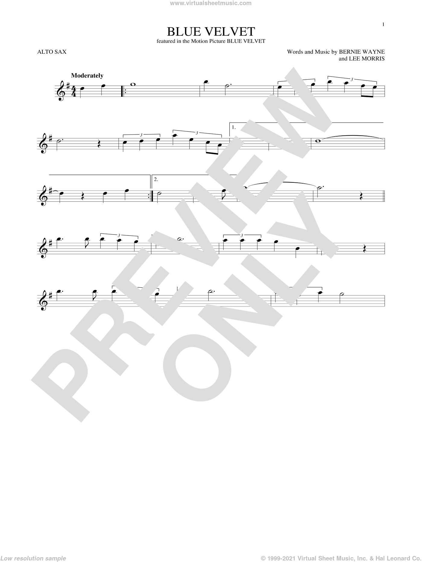 Blue Velvet sheet music for alto saxophone solo by Bobby Vinton, Statues, Bernie Wayne and Lee Morris, intermediate skill level