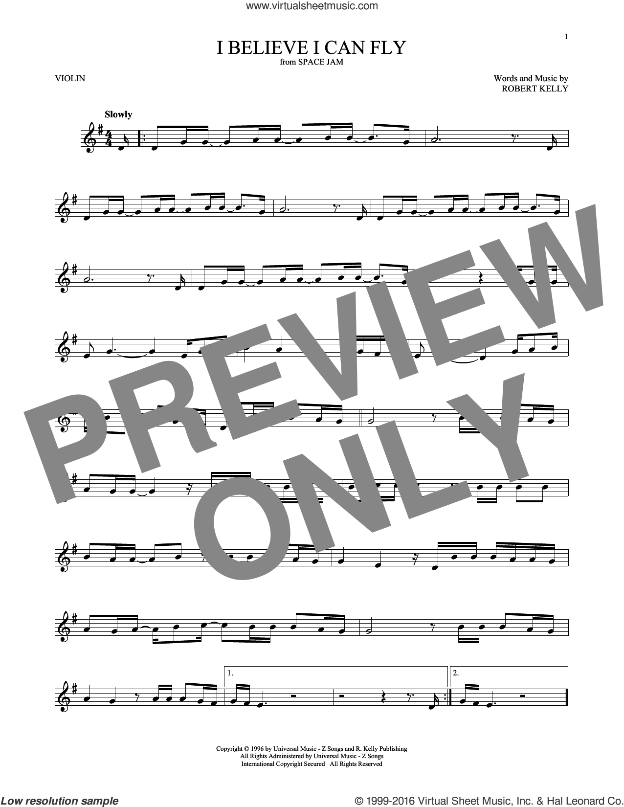 I Believe I Can Fly sheet music for violin solo by Robert Kelly, intermediate. Score Image Preview.