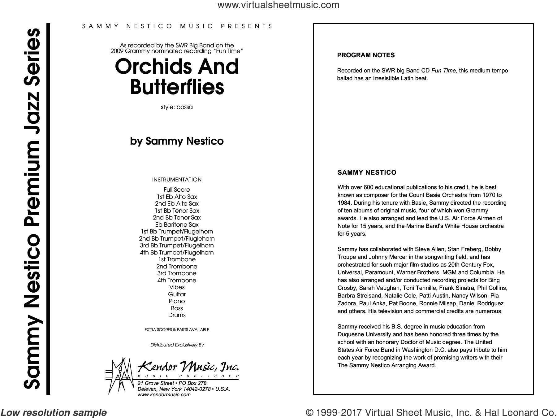 Orchids And Butterflies (COMPLETE) sheet music for jazz band by Sammy Nestico, intermediate skill level