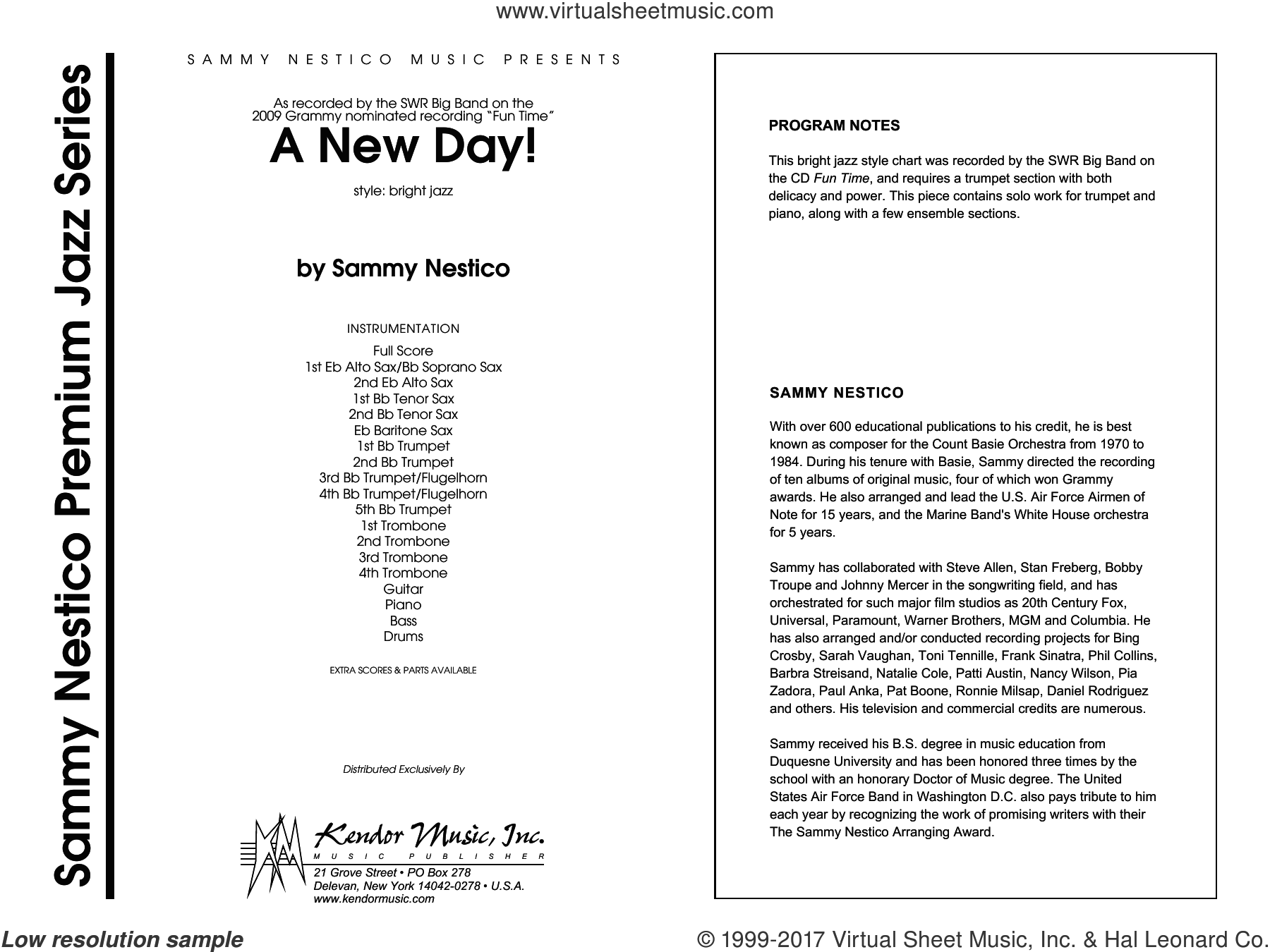 A New Day! (COMPLETE) sheet music for jazz band by Sammy Nestico, intermediate skill level