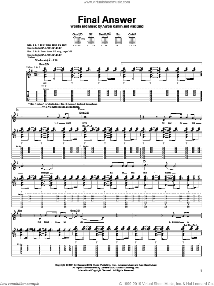 Final Answer sheet music for guitar (tablature) by The Calling, Aaron Kamin and Alex Band, intermediate. Score Image Preview.