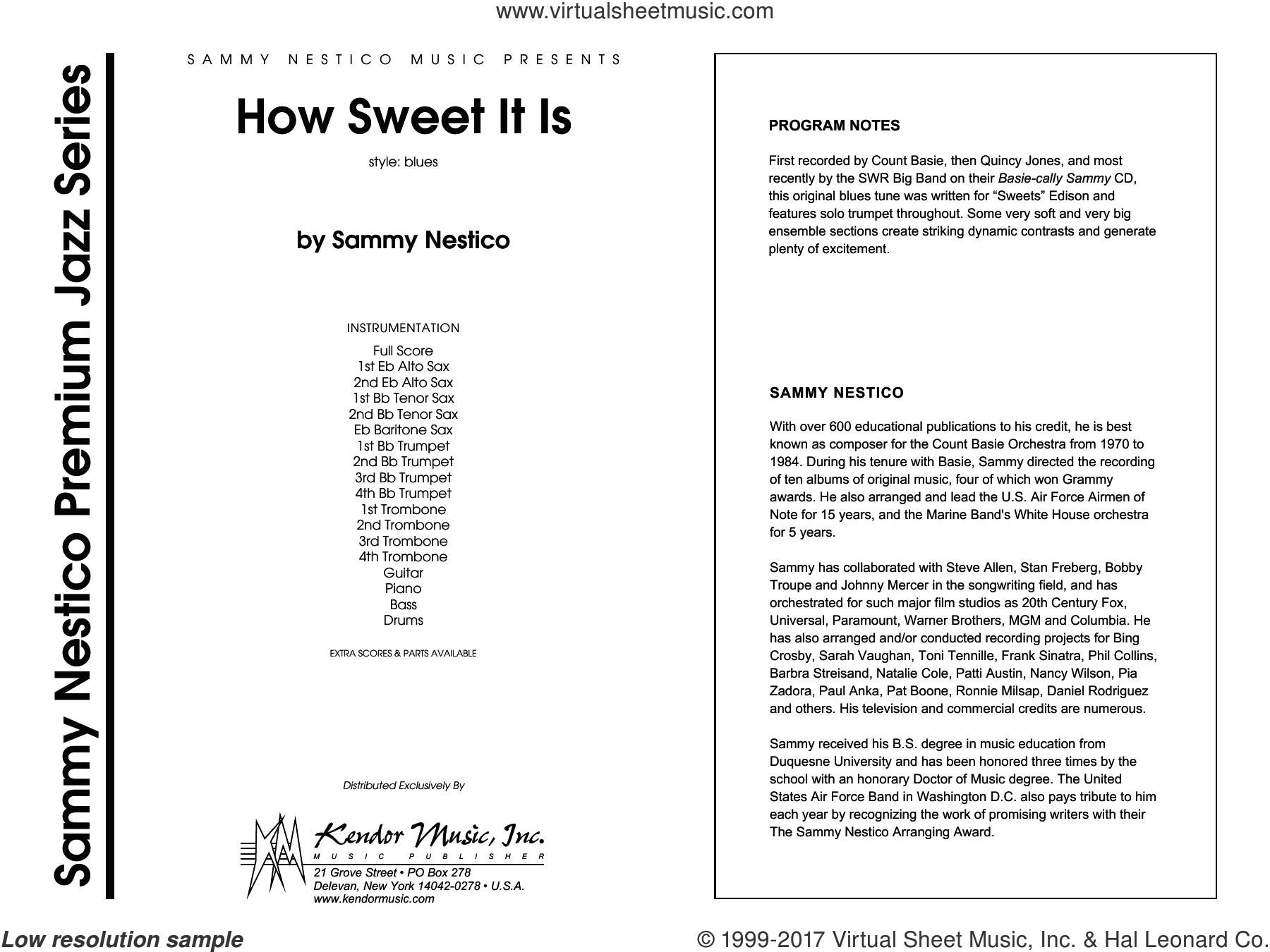 How Sweet It Is, complete collection (COMPLETE) sheet music for jazz band by Sammy Nestico, intermediate jazz band. Score Image Preview.