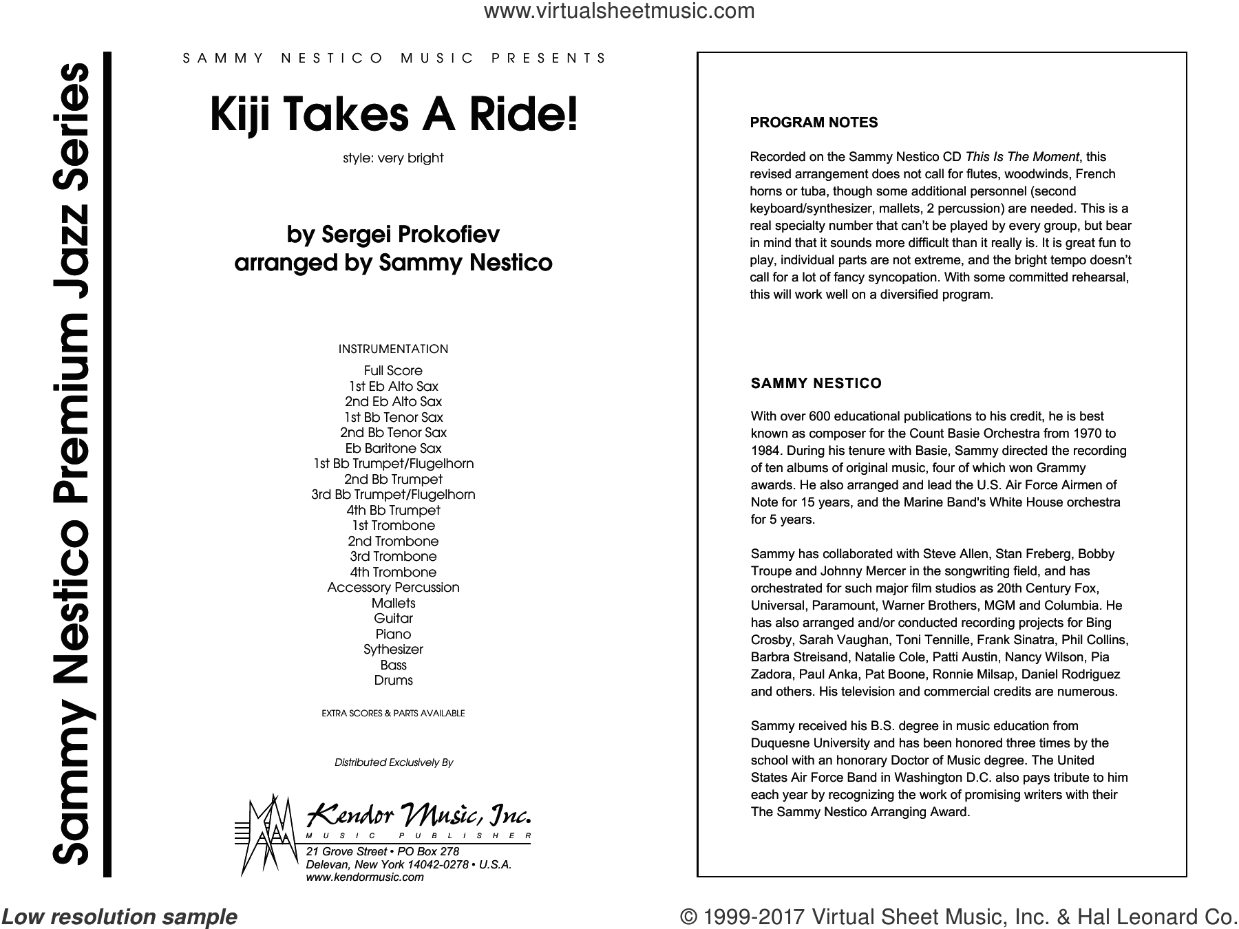 Kiji Takes A Ride! (COMPLETE) sheet music for jazz band by Sammy Nestico, intermediate. Score Image Preview.