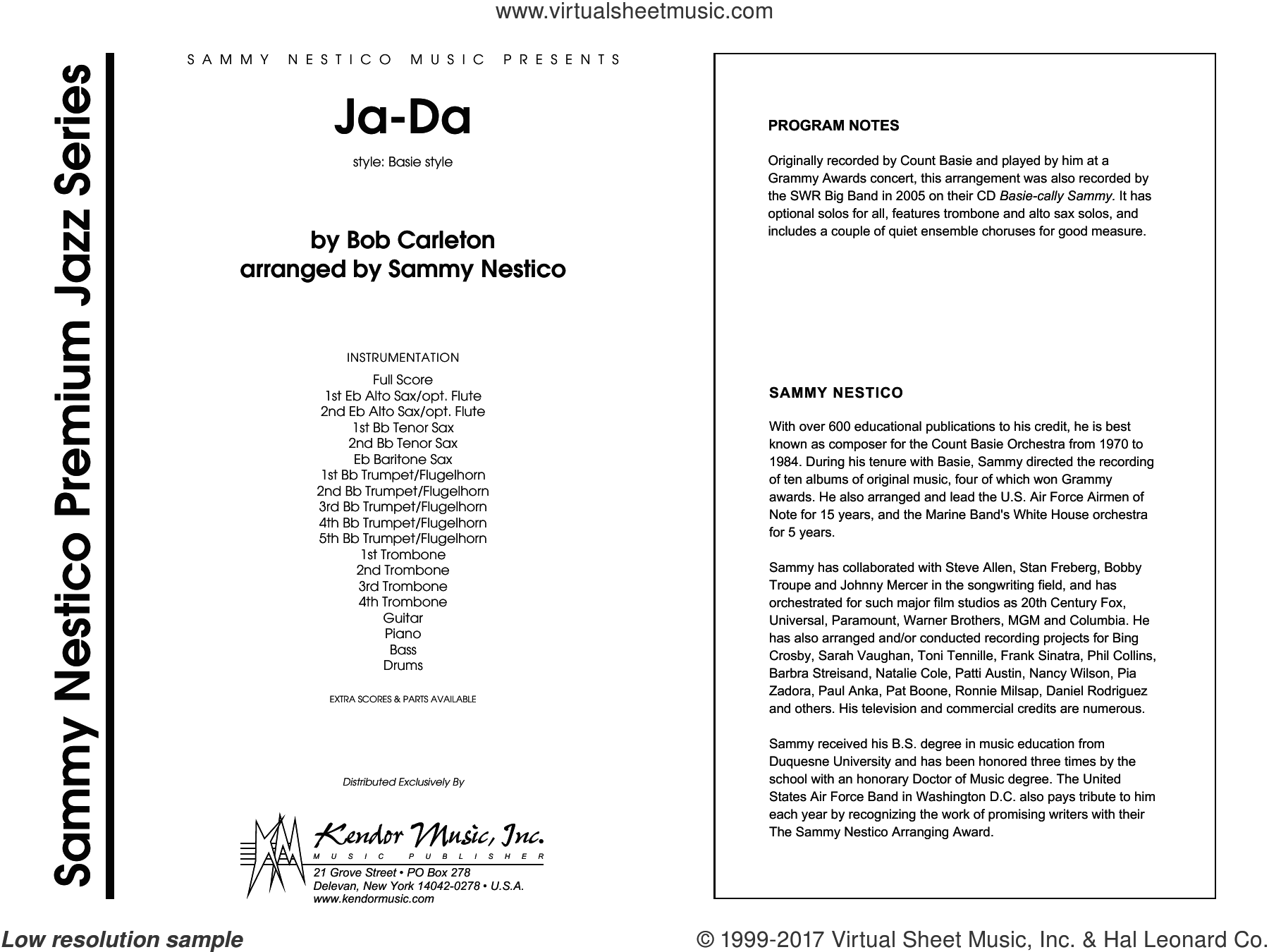 Ja-Da (COMPLETE) sheet music for jazz band by Sammy Nestico and Carleton, intermediate skill level