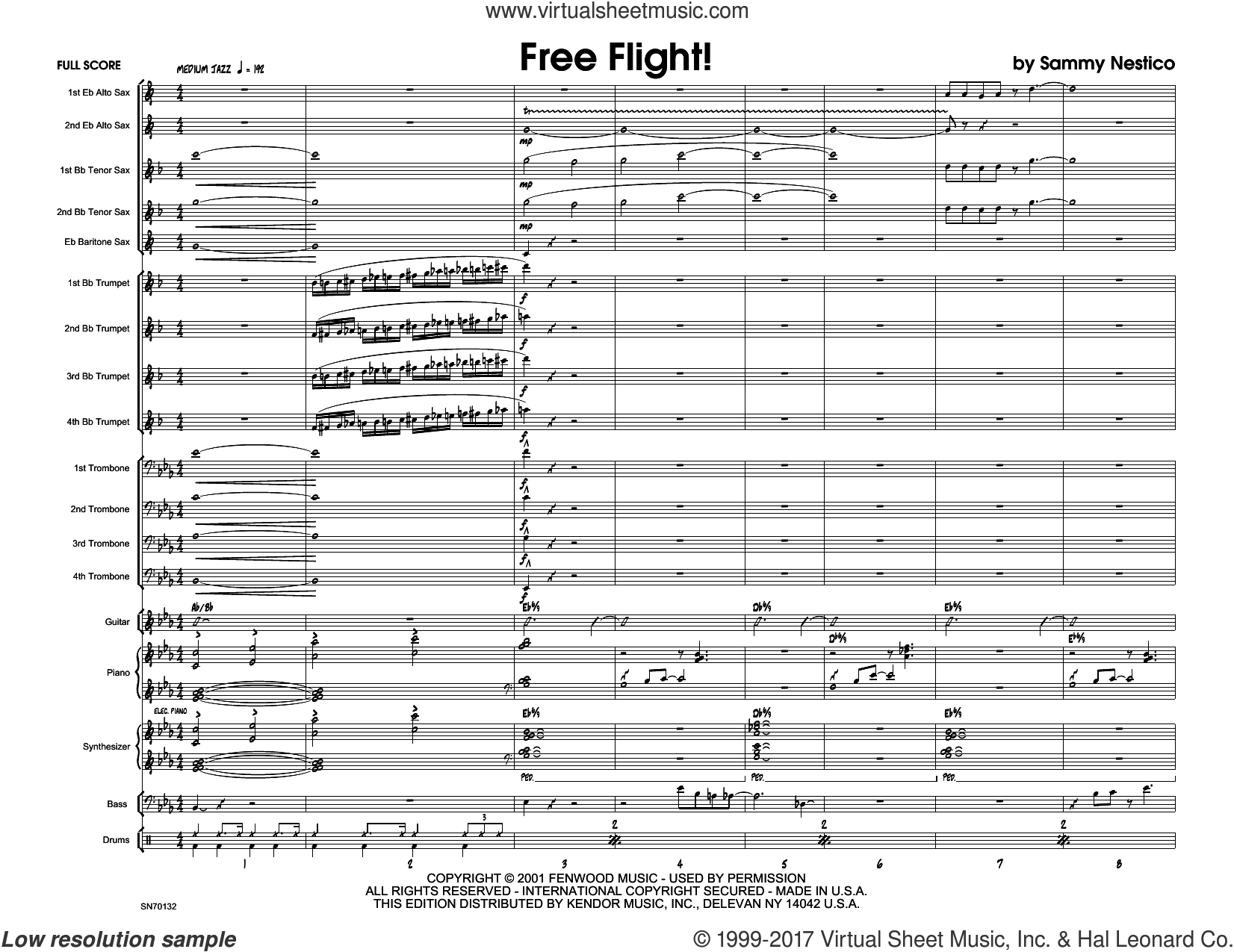 Free Flight! (COMPLETE) sheet music for jazz band by Sammy Nestico, intermediate skill level