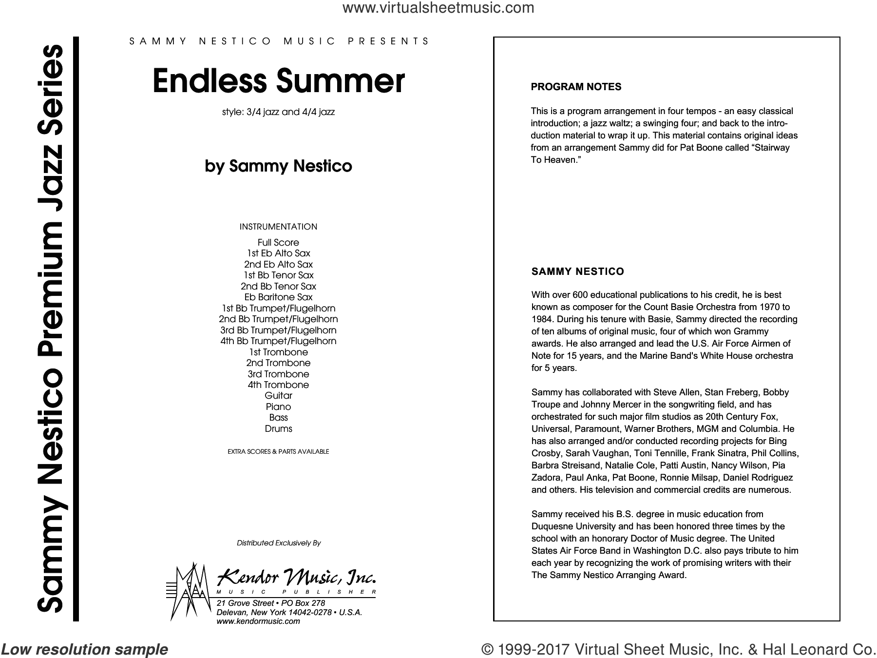 Endless Summer (COMPLETE) sheet music for jazz band by Sammy Nestico, intermediate jazz band. Score Image Preview.