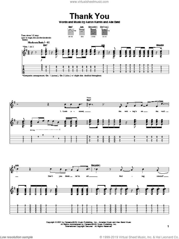 Thank You sheet music for guitar (tablature) by The Calling. Score Image Preview.