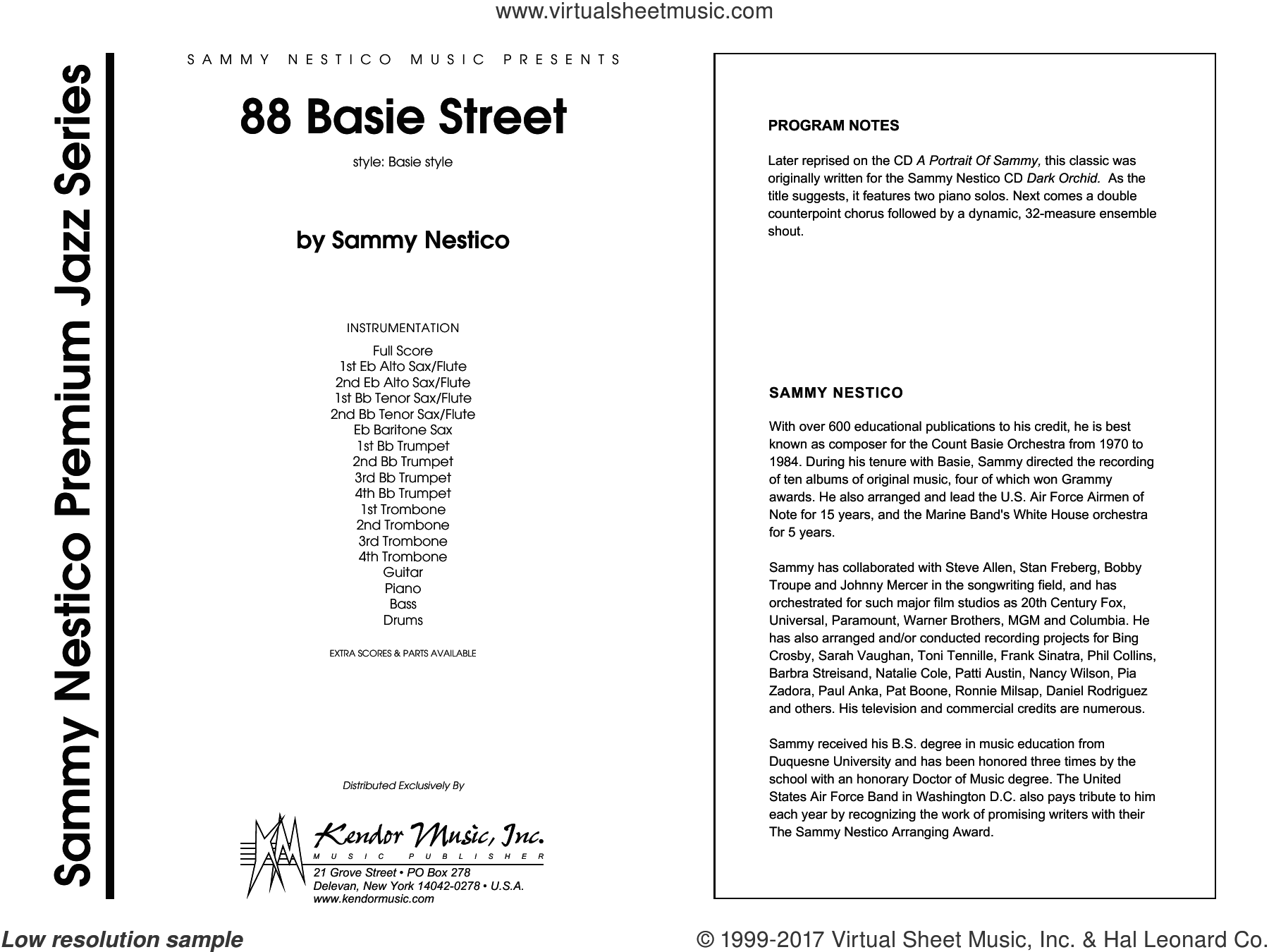 88 Basie Street (COMPLETE) sheet music for jazz band by Sammy Nestico, intermediate. Score Image Preview.
