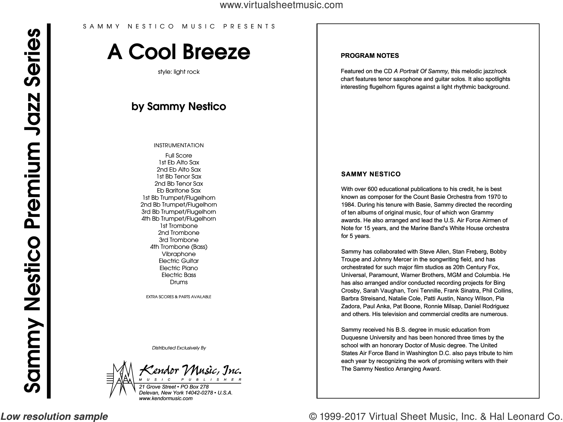 A Cool Breeze (COMPLETE) sheet music for jazz band by Sammy Nestico, intermediate