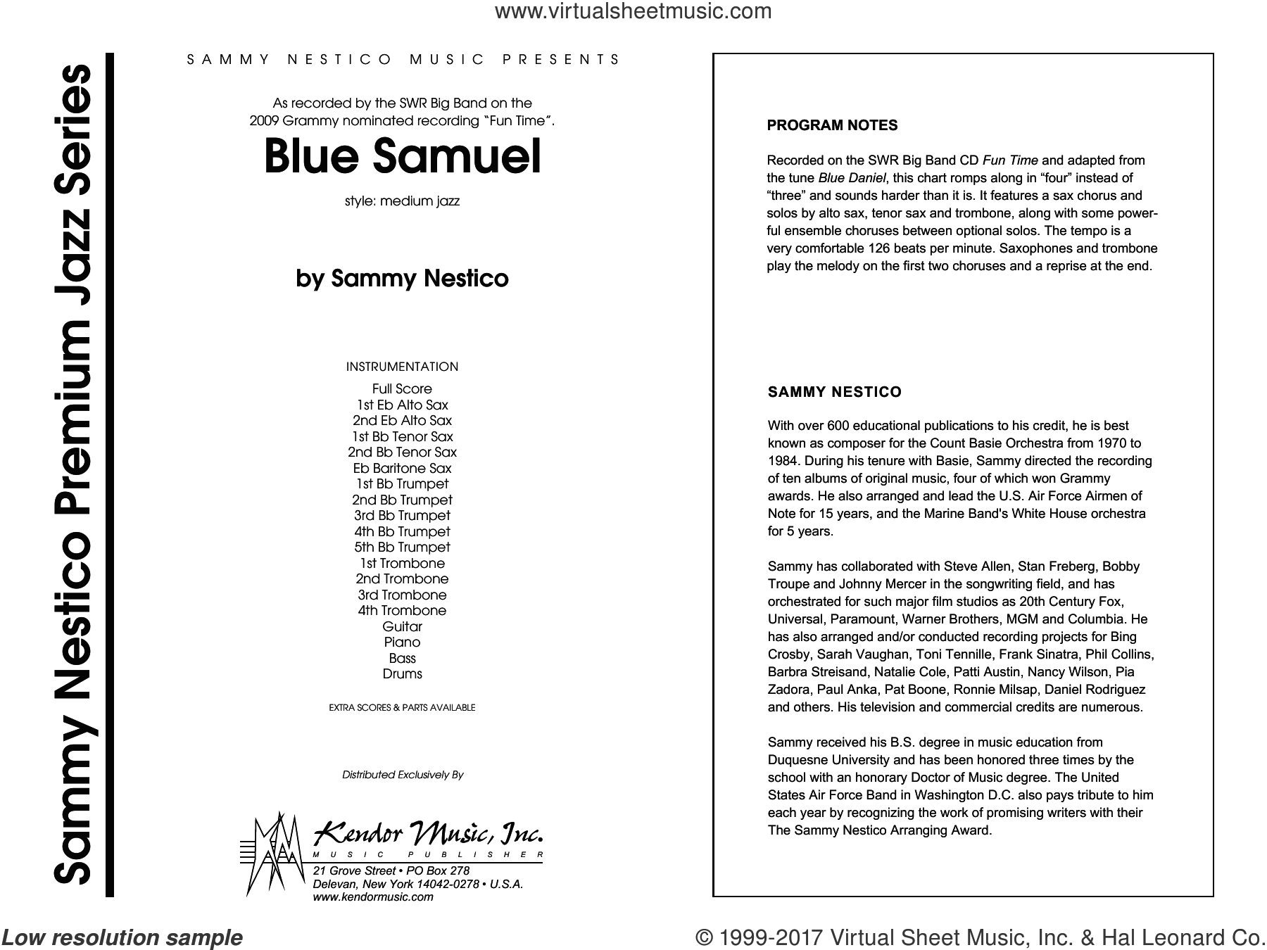Blue Samuel (COMPLETE) sheet music for jazz band by Sammy Nestico, intermediate. Score Image Preview.