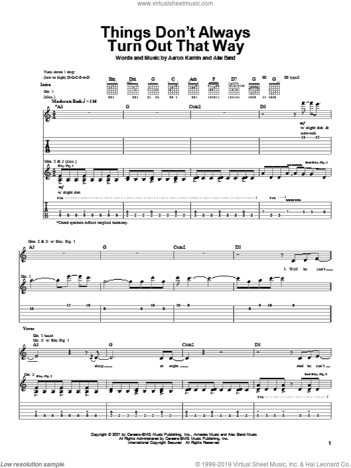 Things Don't Always Turn Out That Way sheet music for guitar (tablature) by The Calling, Aaron Kamin and Alex Band, intermediate skill level