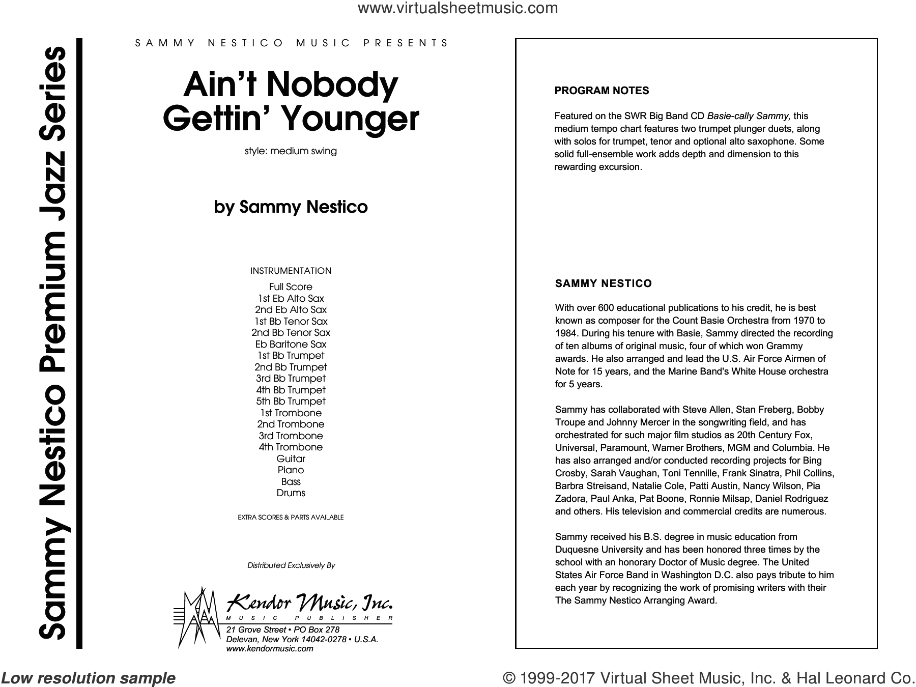 Ain't Nobody Gettin' Younger (COMPLETE) sheet music for jazz band by Sammy Nestico, intermediate skill level