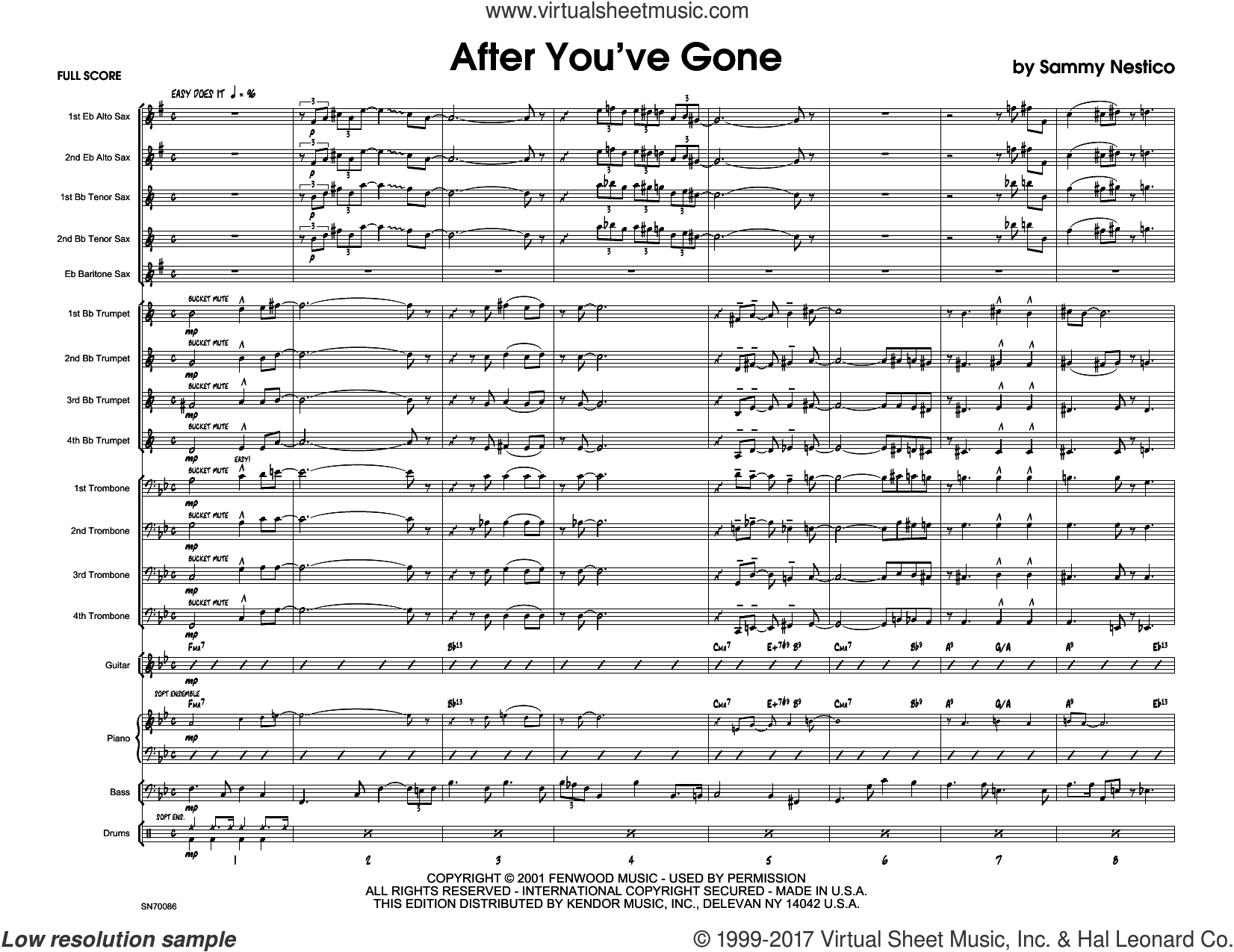After You've Gone (COMPLETE) sheet music for jazz band by Sammy Nestico, intermediate. Score Image Preview.