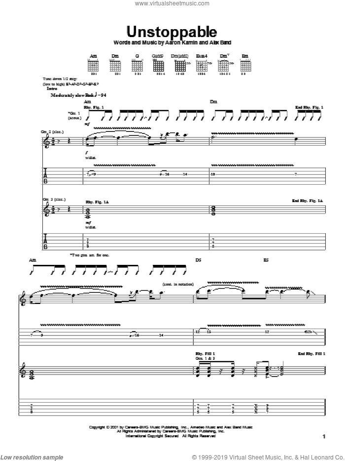 Unstoppable sheet music for guitar (tablature) by The Calling, Aaron Kamin and Alex Band, intermediate skill level