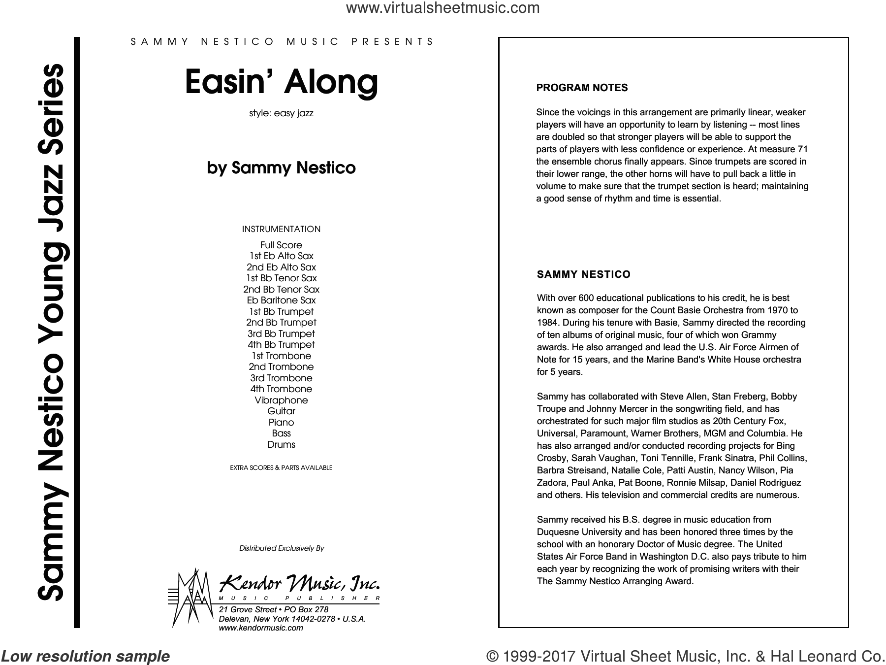 Easin' Along (COMPLETE) sheet music for jazz band by Sammy Nestico, intermediate skill level