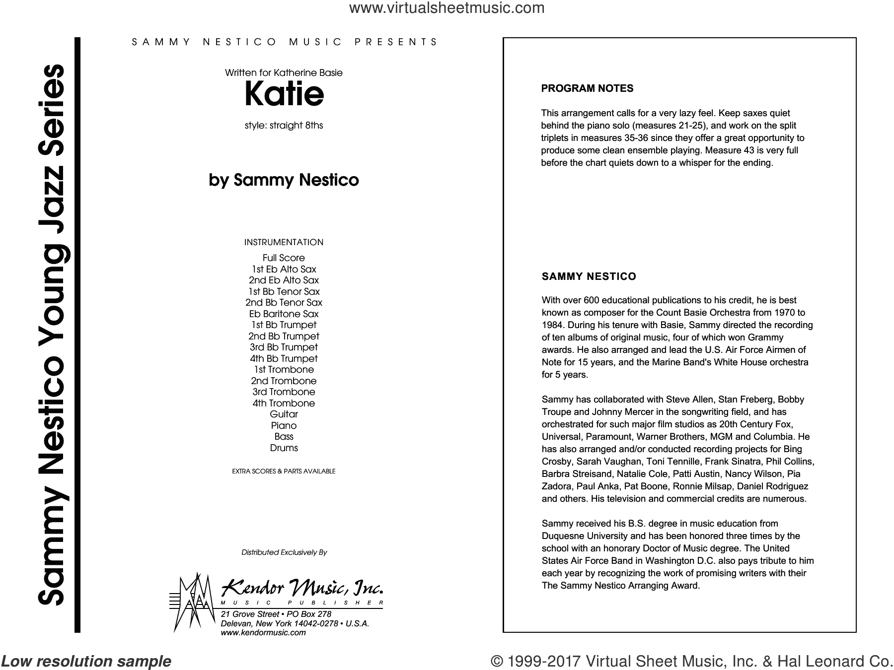 Katie (COMPLETE) sheet music for jazz band by Sammy Nestico, intermediate. Score Image Preview.