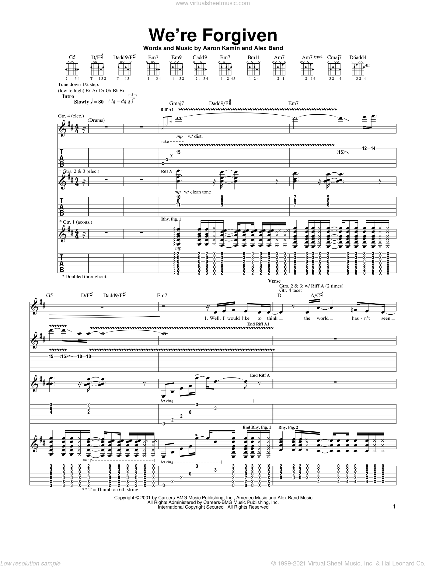 We're Forgiven sheet music for guitar (tablature) by Alex Band