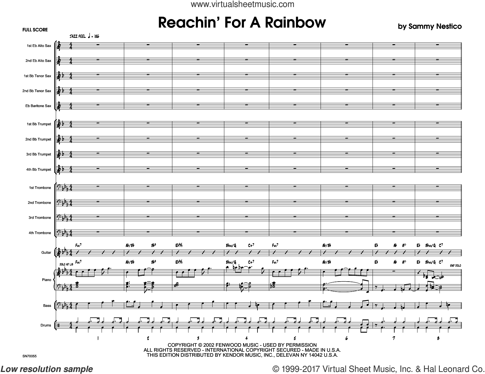 Reachin' For A Rainbow (COMPLETE) sheet music for jazz band by Sammy Nestico, intermediate skill level