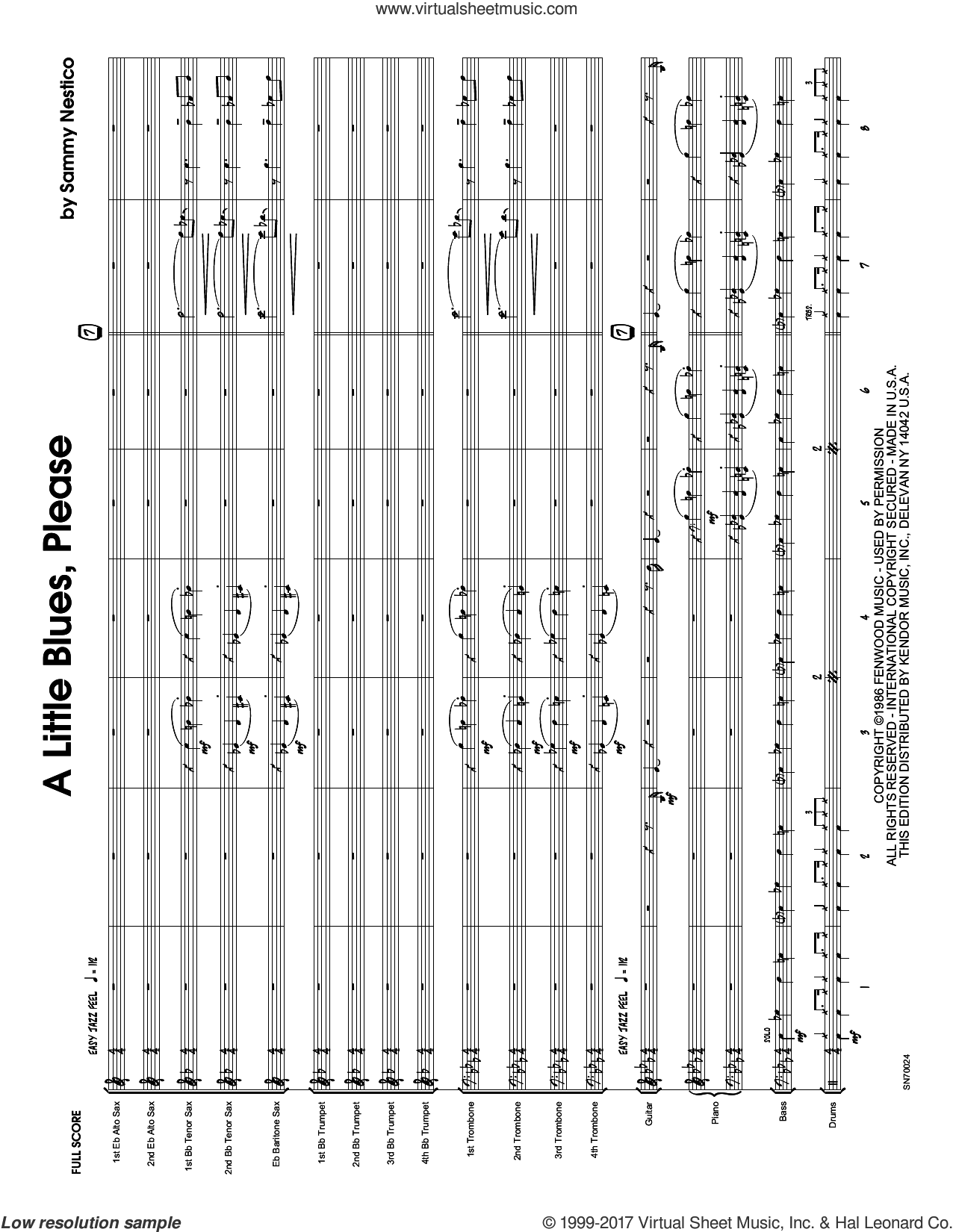 A Little Blues, Please (COMPLETE) sheet music for jazz band by Sammy Nestico, intermediate skill level