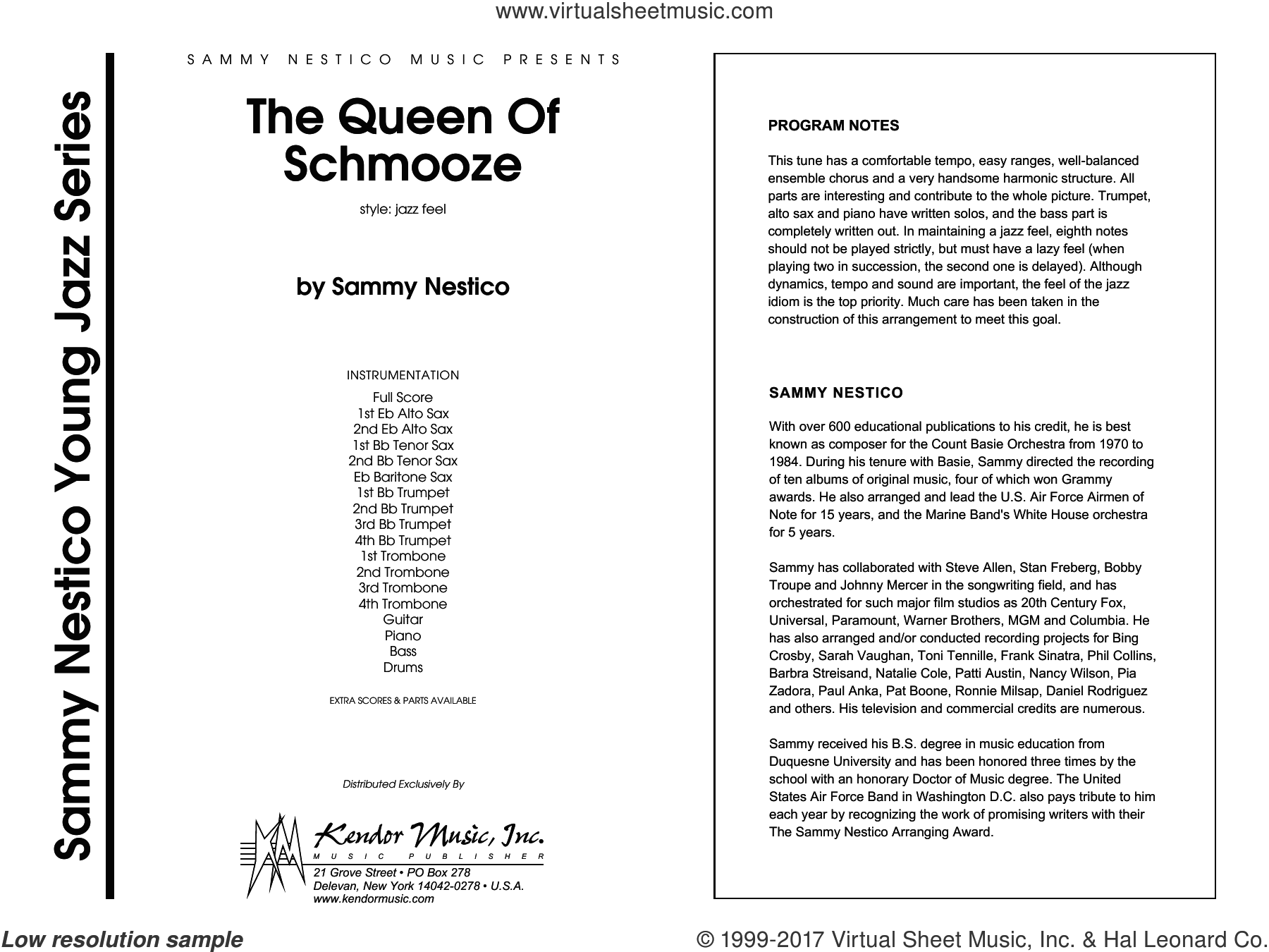 The Queen Of Schmooze (COMPLETE) sheet music for jazz band by Sammy Nestico, intermediate skill level