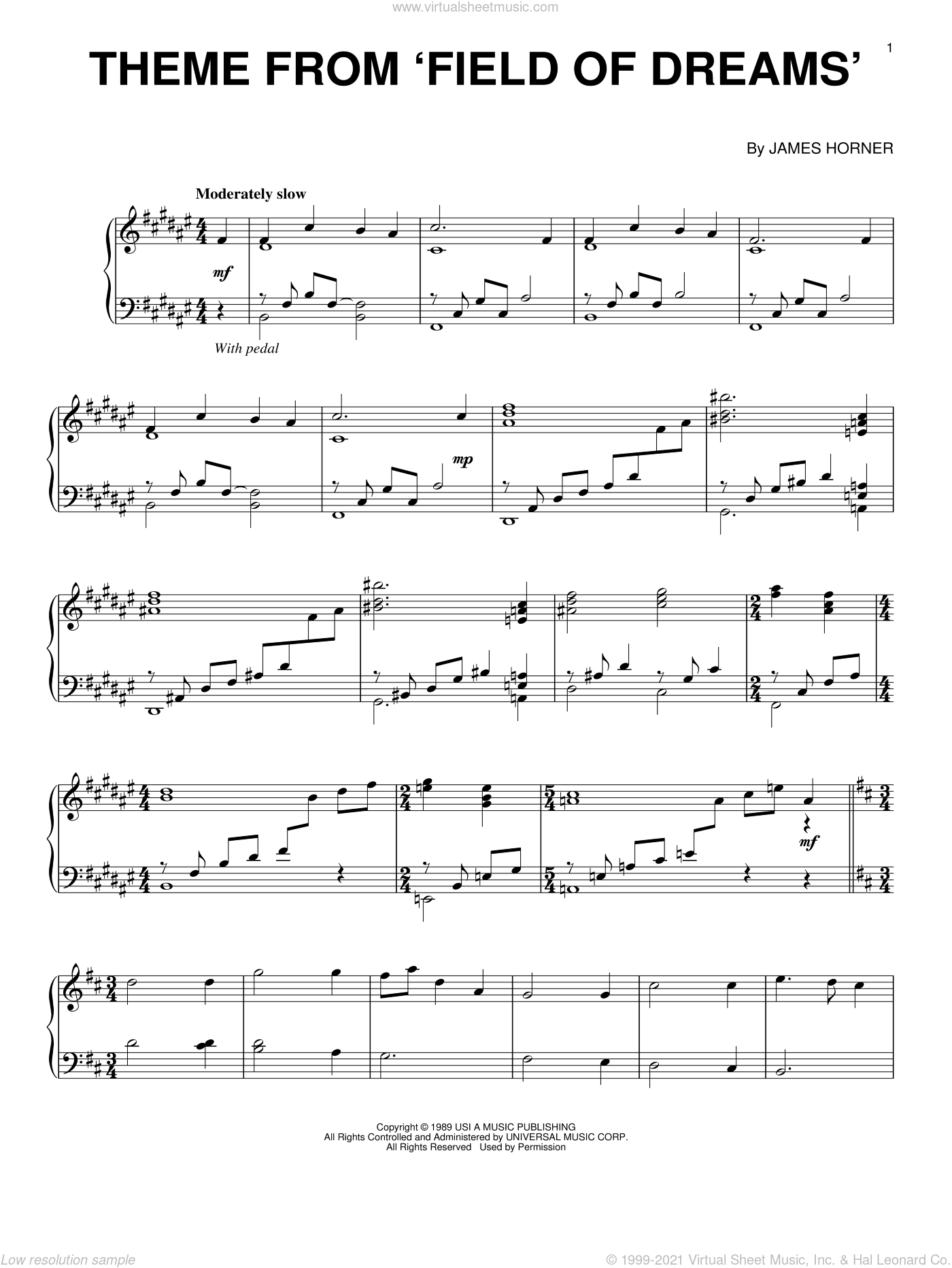 Theme From Field Of Dreams sheet music for piano solo by James Horner, intermediate skill level