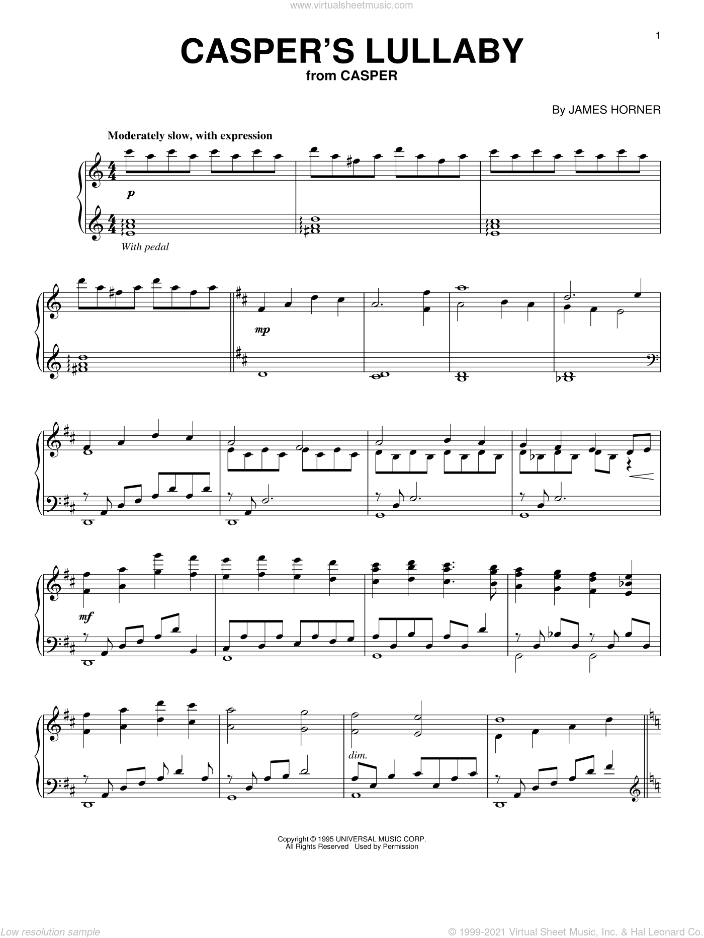 Casper's Lullaby sheet music for piano solo by James Horner, intermediate skill level